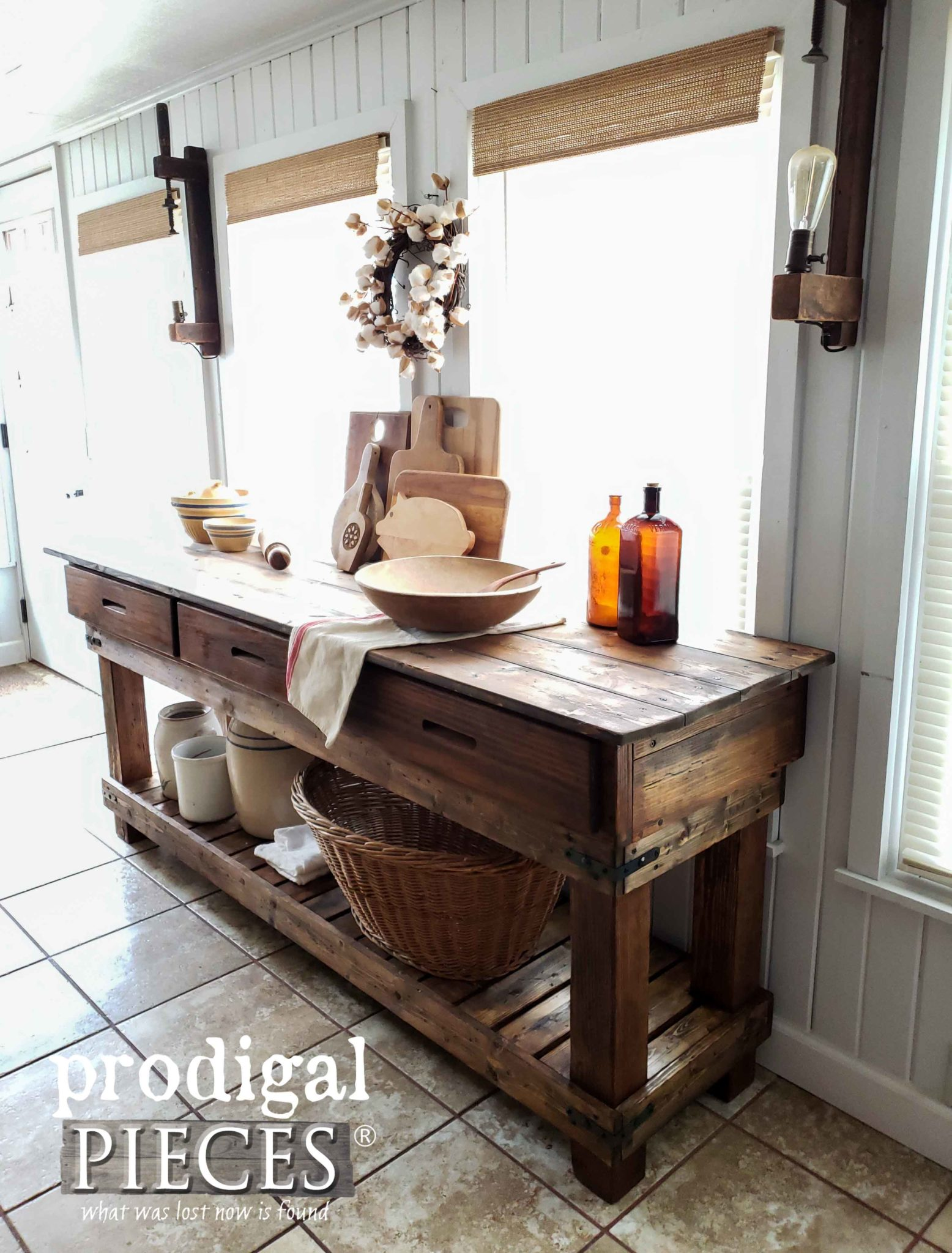 Rustic DIY Farmhouse Workbench Console by Larissa of Prodigal Pieces | prodigalpieces.com