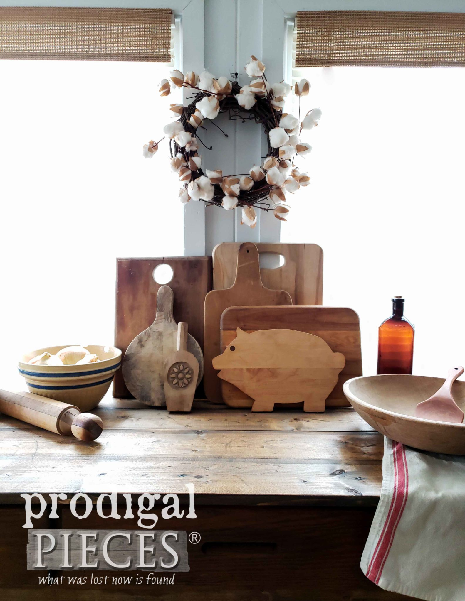 Rustic Farmhouse Kitchen Vignette with Yellow Ware, Cutting Boards, Dough Bowls by Larissa of Prodigal Pieces | Shop at prodigalpieces.com