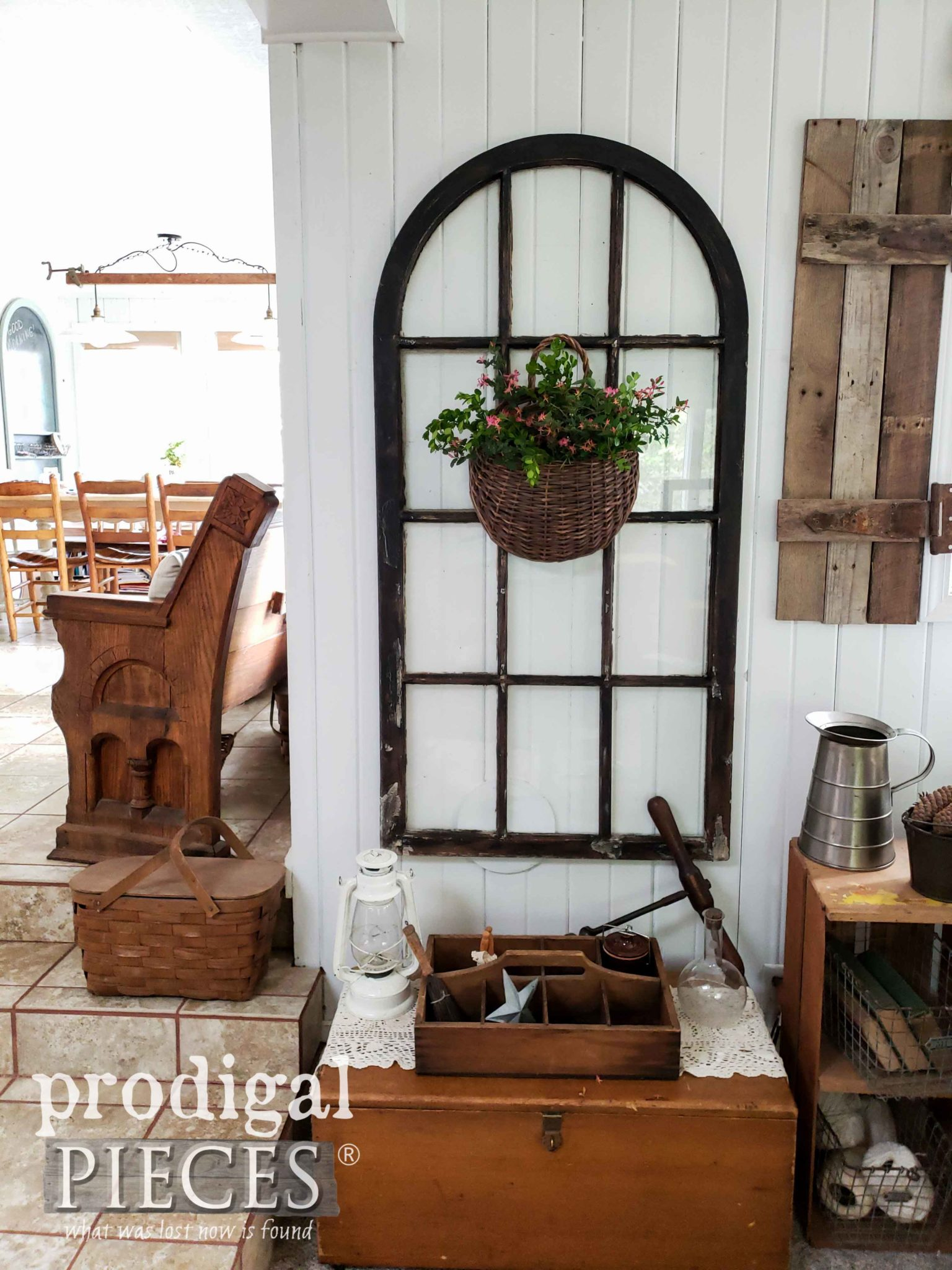 Rustic Farmhouse Living Room with Arched Window Salvage Wall Art by Larissa of Prodigal Pieces | prodigalpieces.com