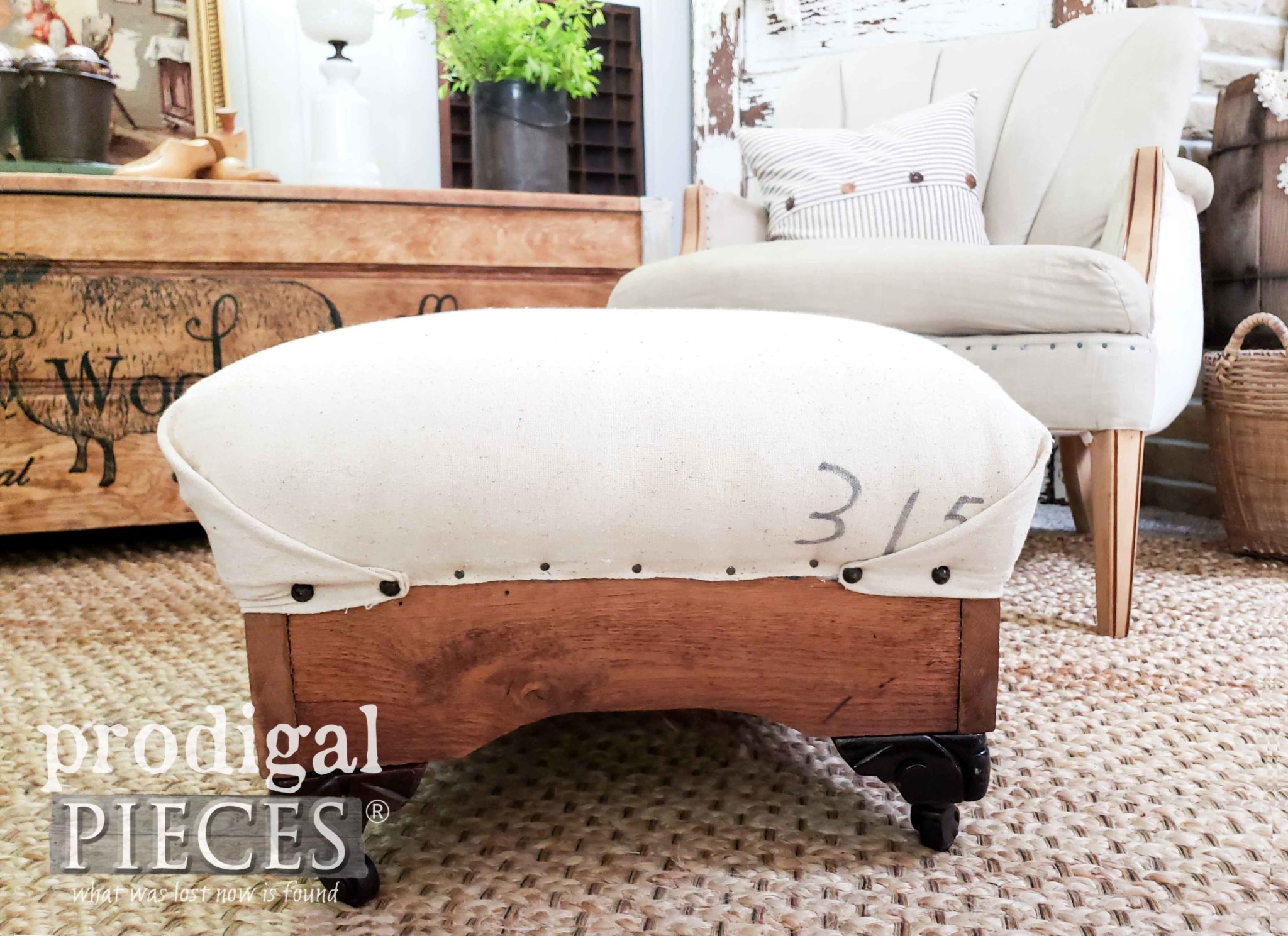Rustic Farmhouse Deconstructed Ottoman with Feed Sack Upholstery by Larissa of Prodigal Pieces | prodigalpieces.com