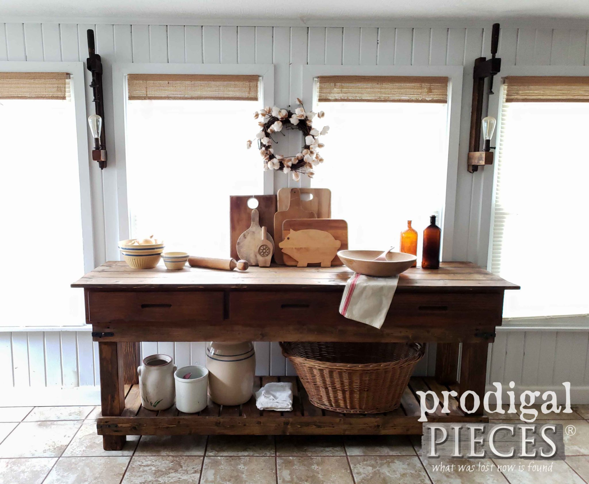 Rustic DIY Farmhouse Workbench Console for Kitchen and Home by Larissa of Prodigal Pieces | prodigalpieces.com