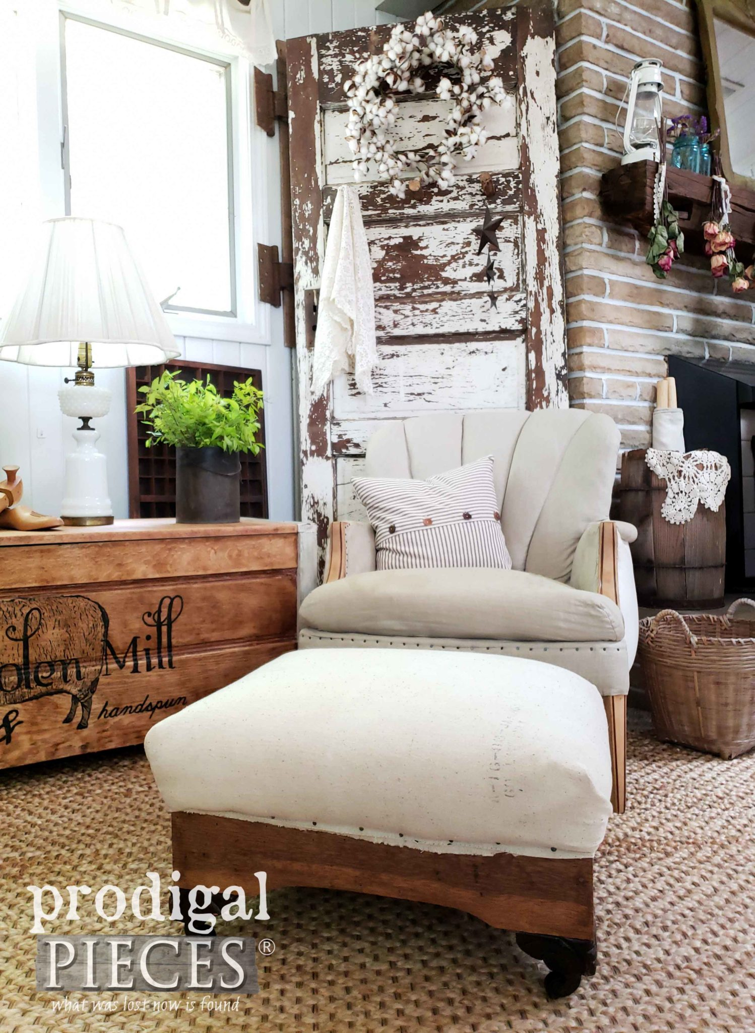 Rustic Farmhouse Feed Sack Ottoman in Deconstructed Style by Larissa of Prodigal Pieces | prodigalpieces.com