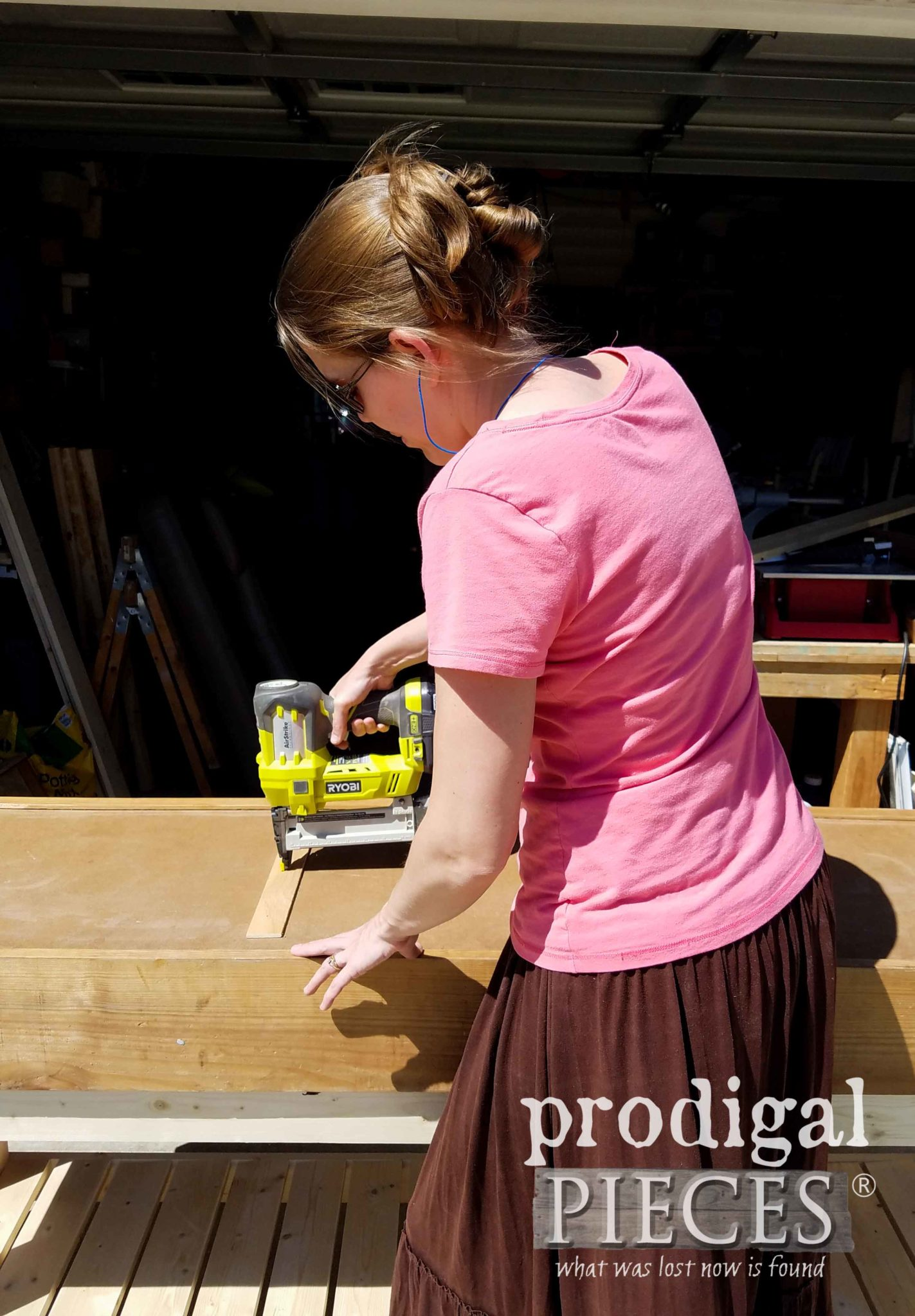 Ryobi AirStrike Cordless Stapler to help build DIY workbench by Prodigal Pieces | prodigalpieces.com