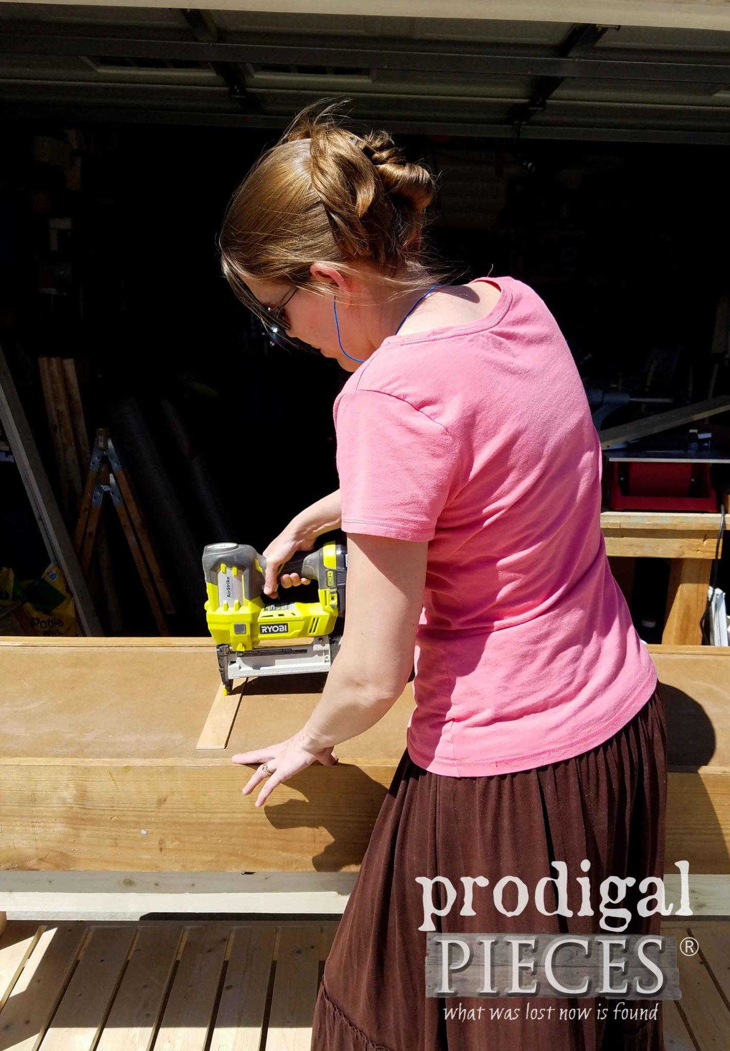Ryobi AirStrike Cordless Stapler to help build DIY workbench by Prodigal Pieces | prodigalpieces.com
