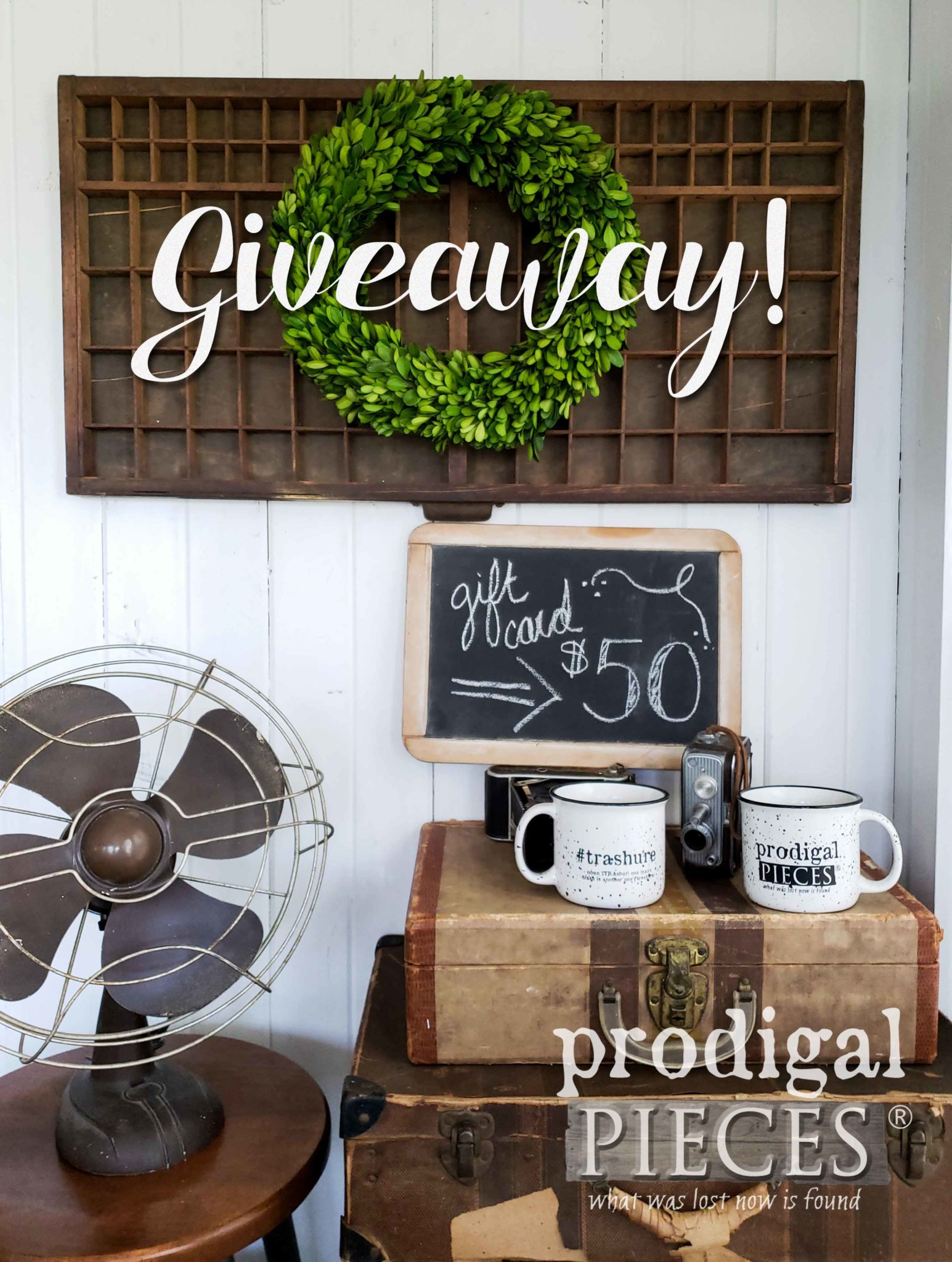 Win this Antique Printer's Tray, Two #Trashure Mugs, and a $50 gift card to Prodigal Pieces | prodigalpieces.com