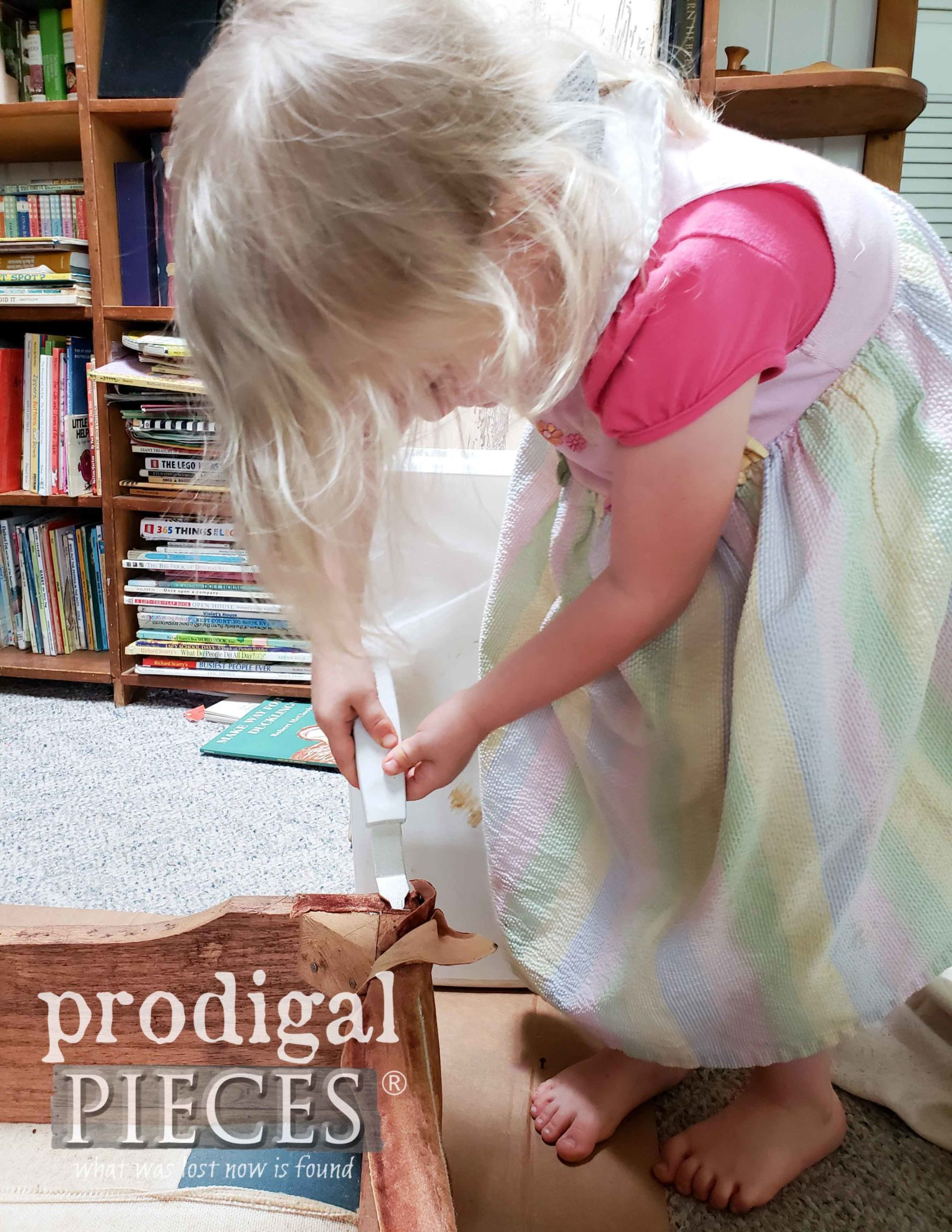 Toddler Helping Mama with Upholstery | prodigalpieces.com