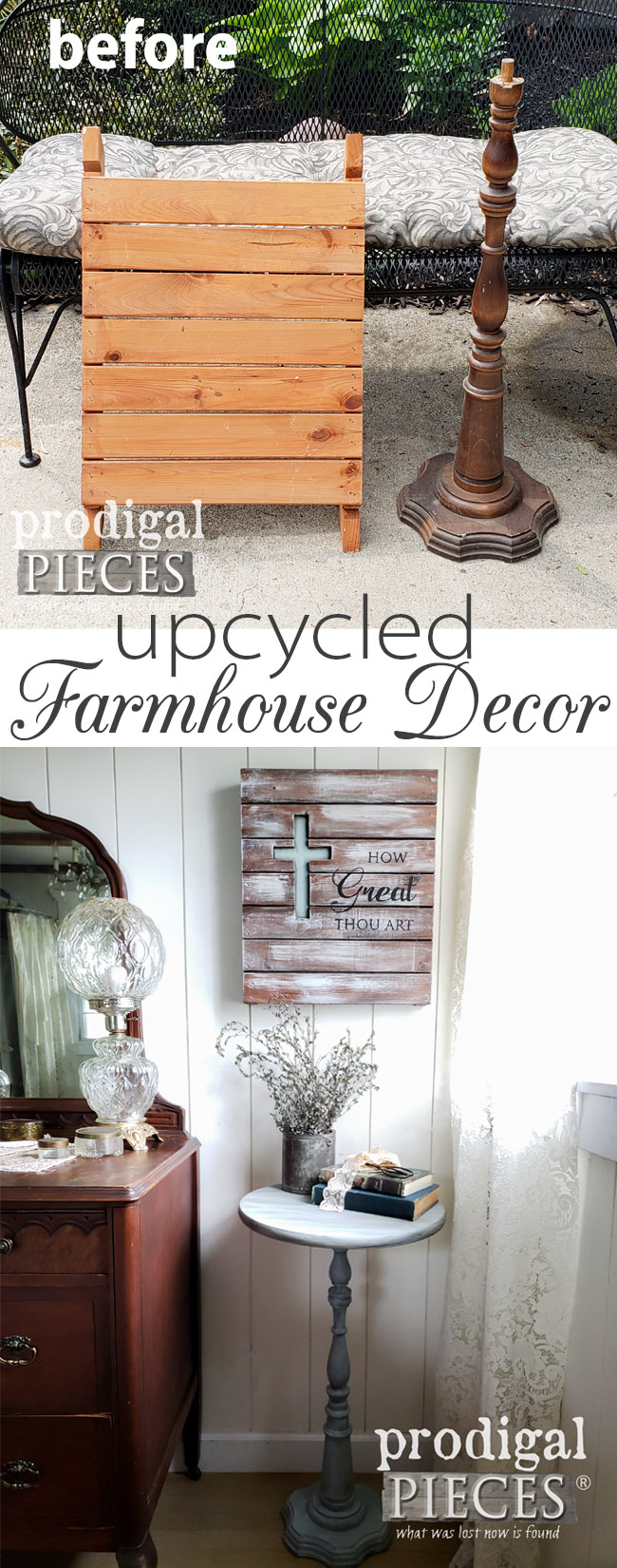 From curbside and the thrift store comes these fun pieces that create upcycled farmhouse decor. Head to Prodigal Pieces for the DIY inspiration. | prodigalpieces.com #prodigalpieces #diy #homedecor #shopping #farmhouse