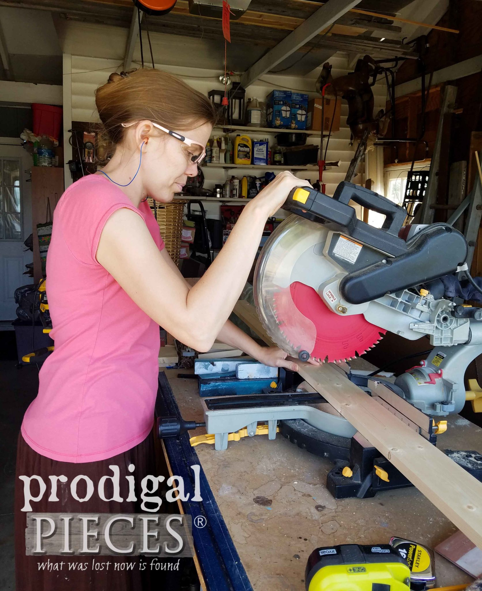 Using Miter Saw to Create DIY Farmhouse Workbench by Prodigal Pieces | prodigalpieces.com