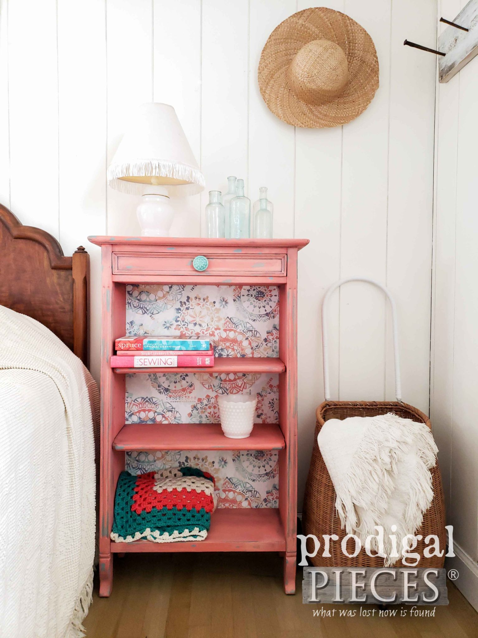 DIY Updated Bookcase with Paper & Paint by Larissa of Prodigal Pieces | prodigalpieces.com