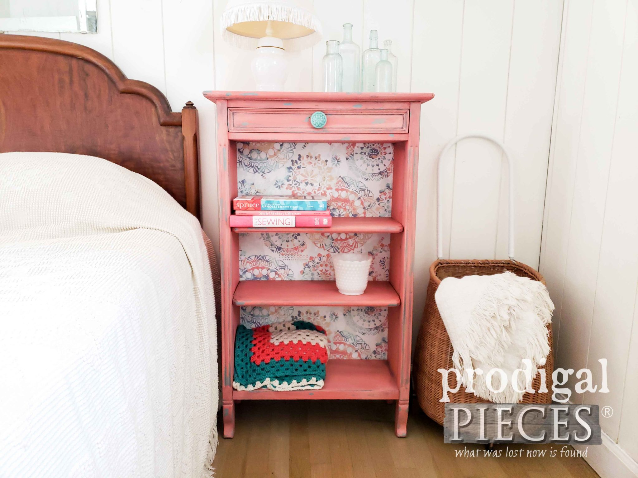 Vintage Coral Bookcase with Boho Vibe and Wallpaper Backing by Larissa of Prodigal Pieces | prodigalpieces.com #prodigalpieces