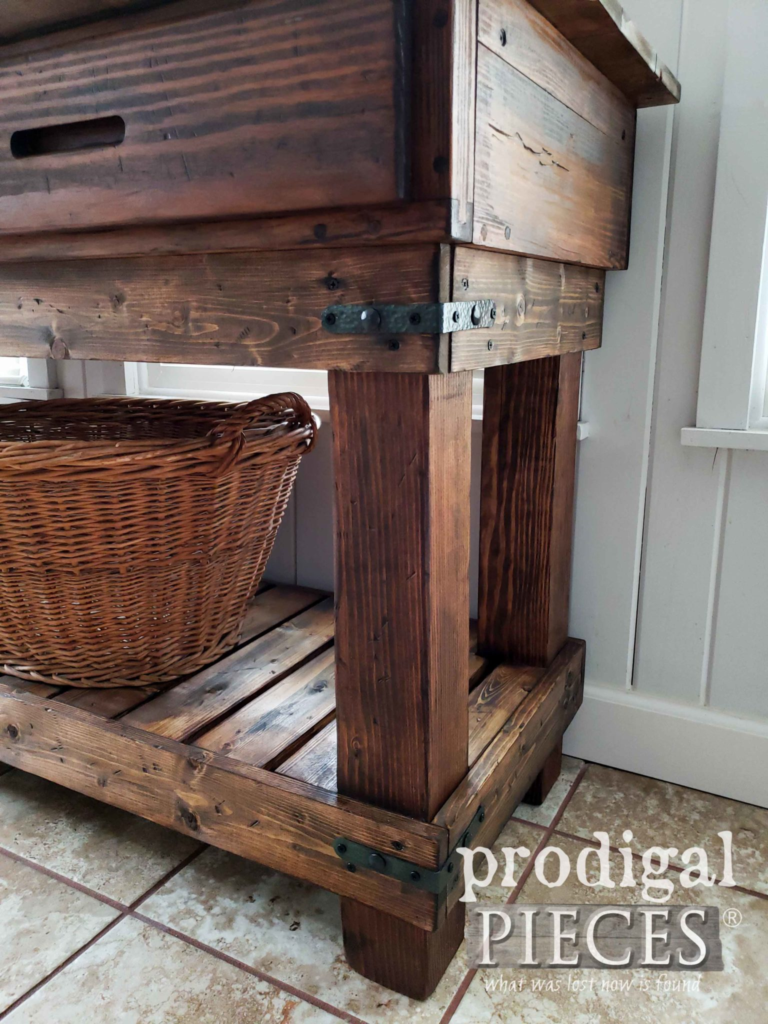 Rustic Pine Farmhouse Workbench with Hammered Iron Corner Braces by Larissa of Prodigal Pieces | prodigalpieces.com