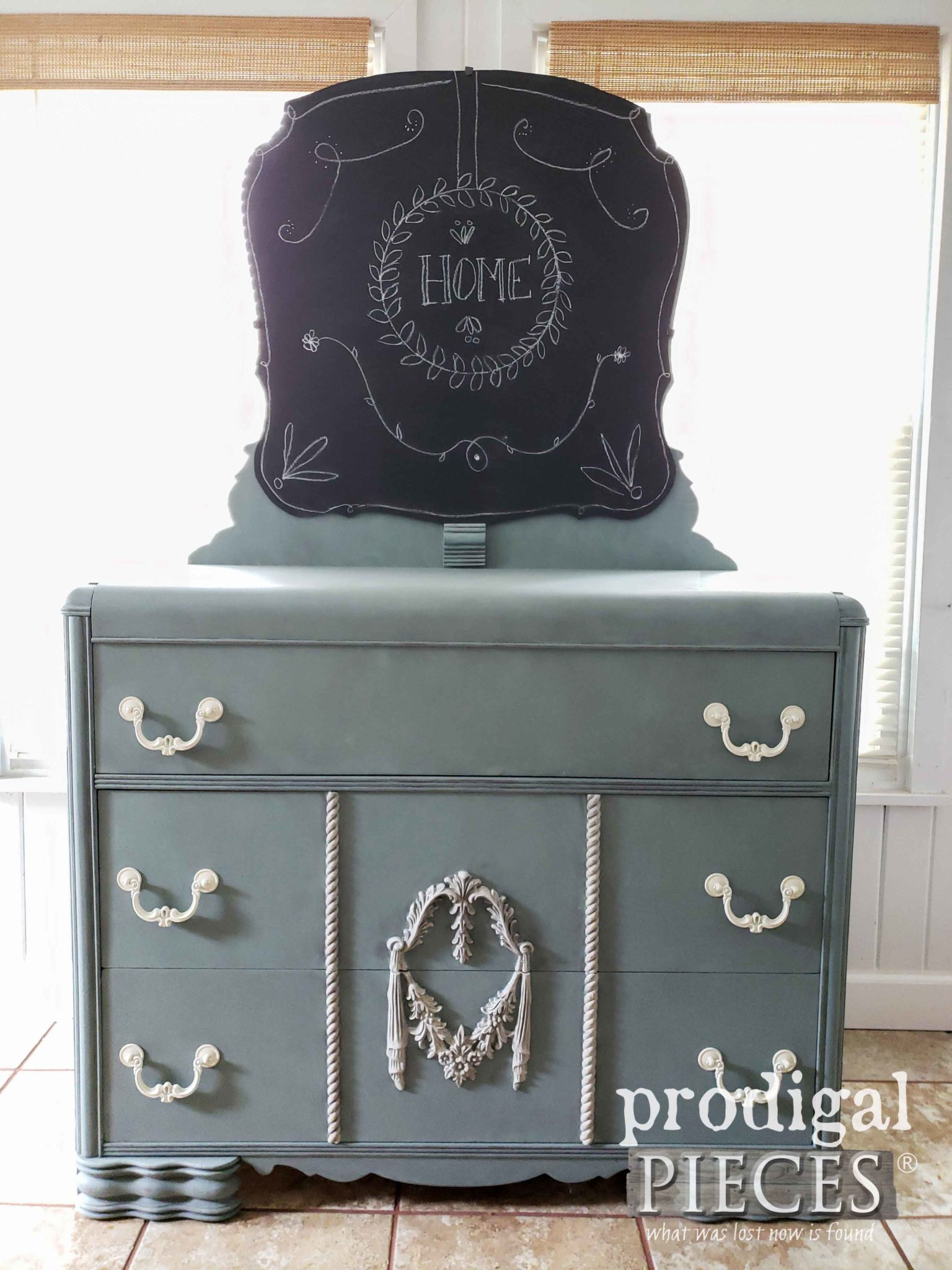 Vintage Waterfall Dresser with Chalkboard by Prodigal Pieces | prodigalpieces.com