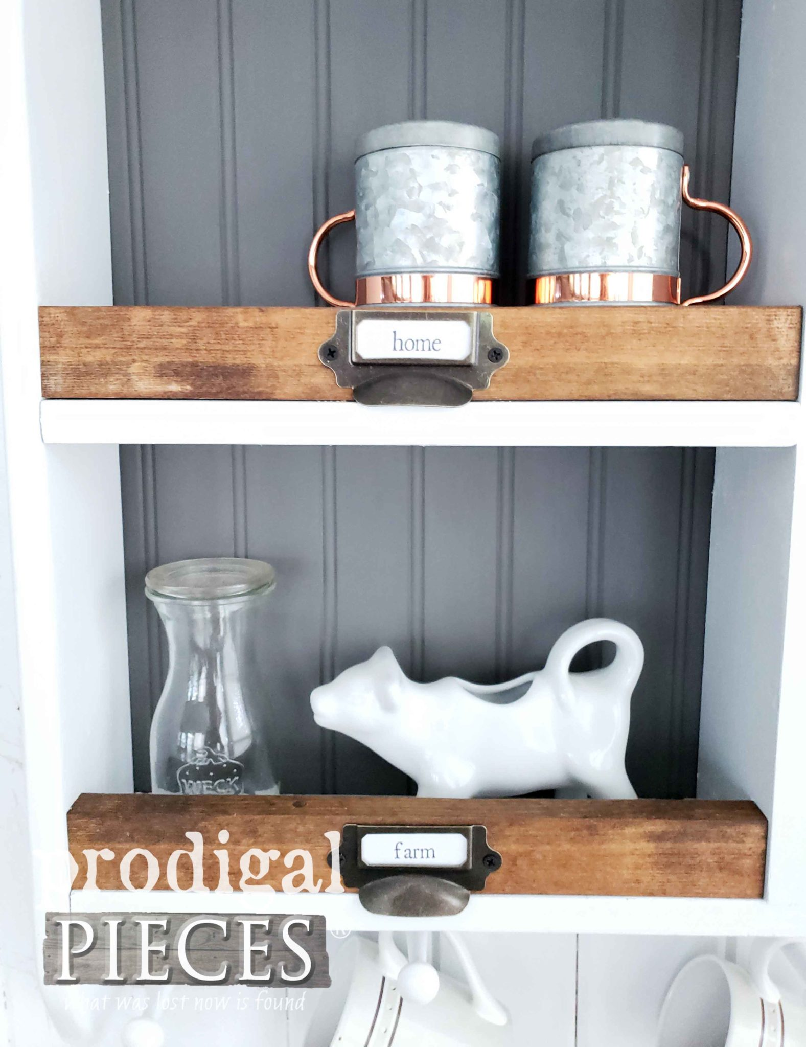 Apothecary Bin Labels on Farmhouse Storage Cubby by Larissa of Prodigal Pieces | prodigalpieces.com