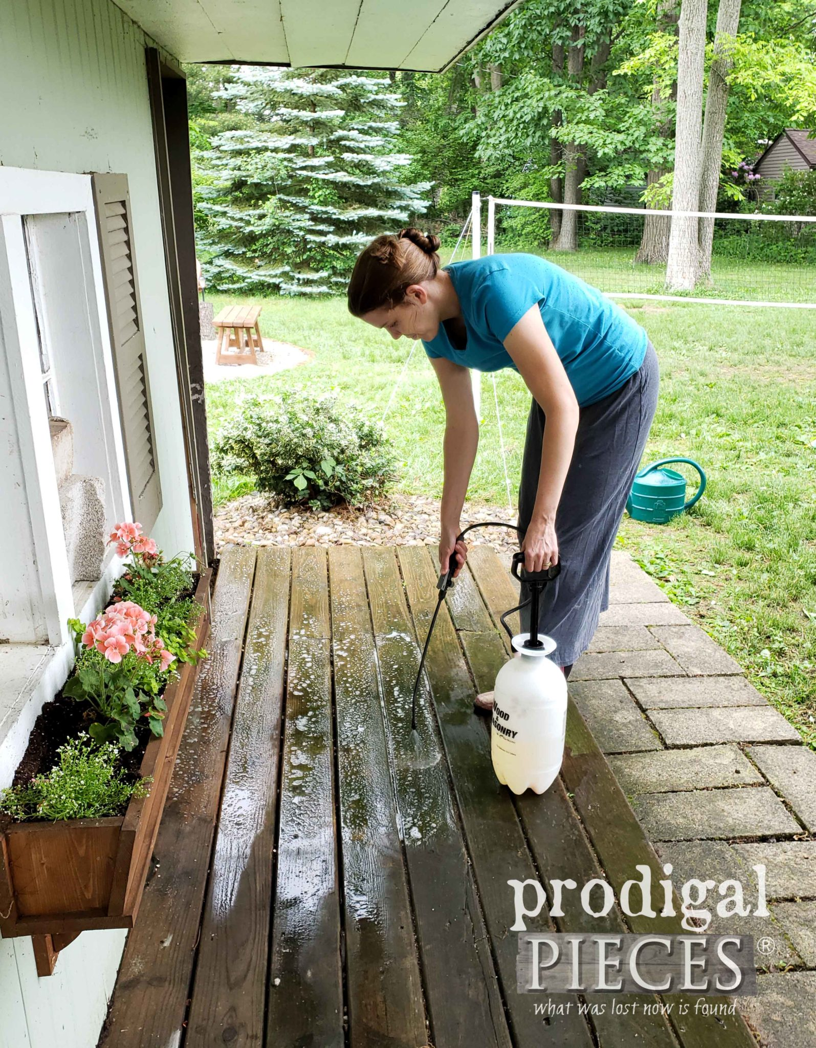 Applying Deck Wash to Shed Deck | prodigalpieces.com