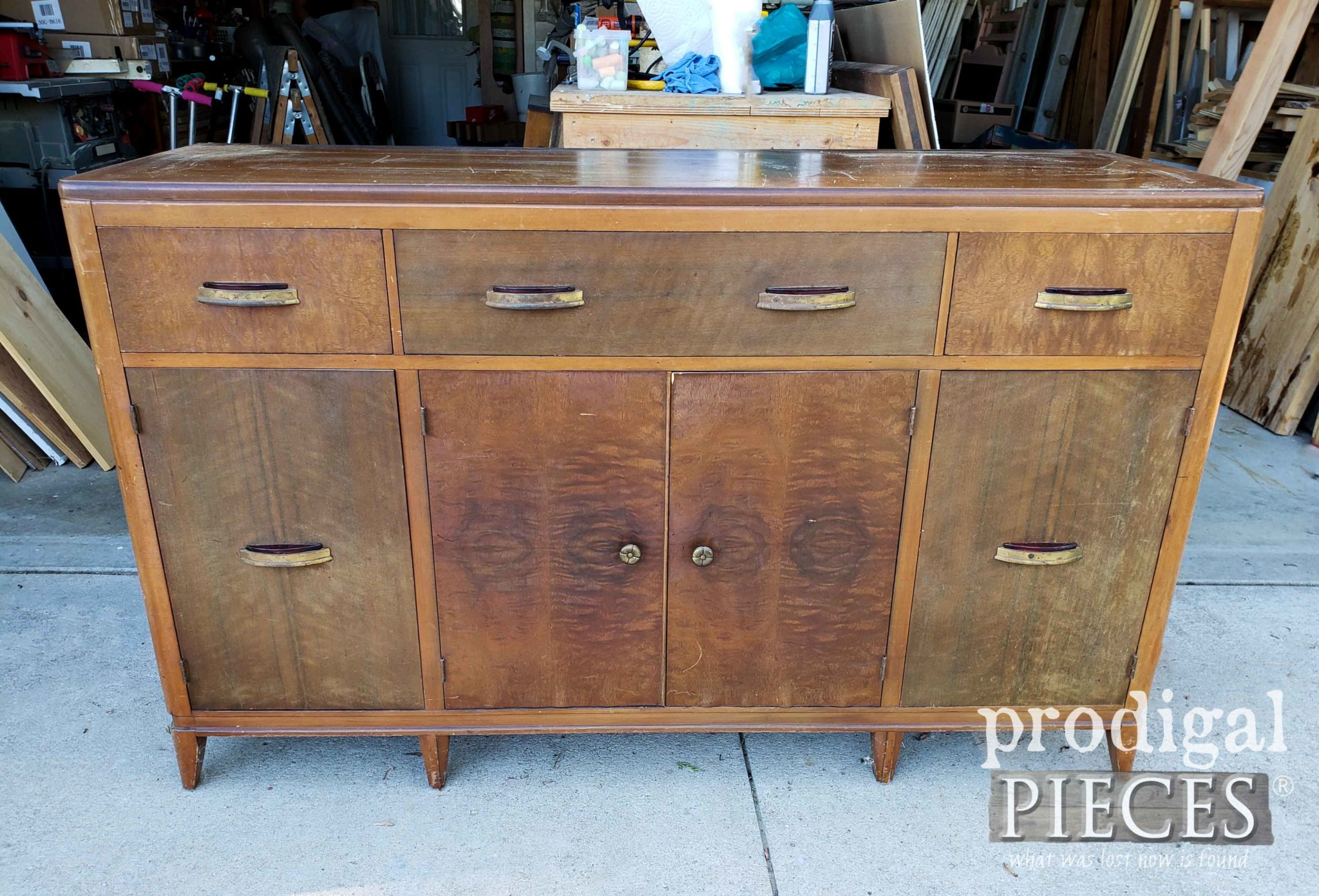 Vintage Art Deco Buffet Before Makeover by