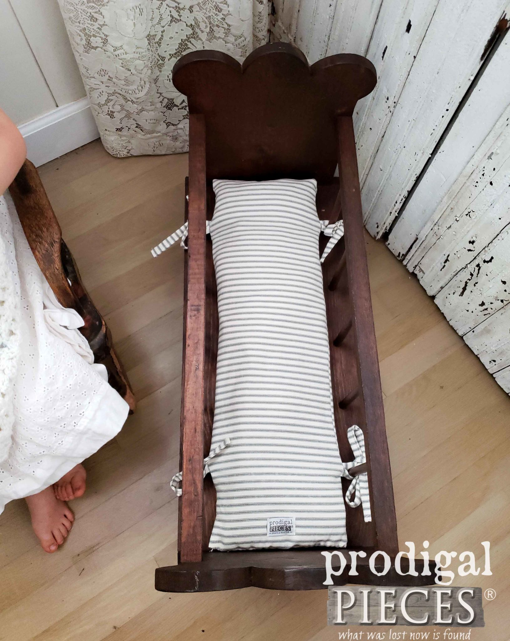 Doll Cradle Ticking Mattress by Larissa of Prodigal Pieces | prodigalpieces.com