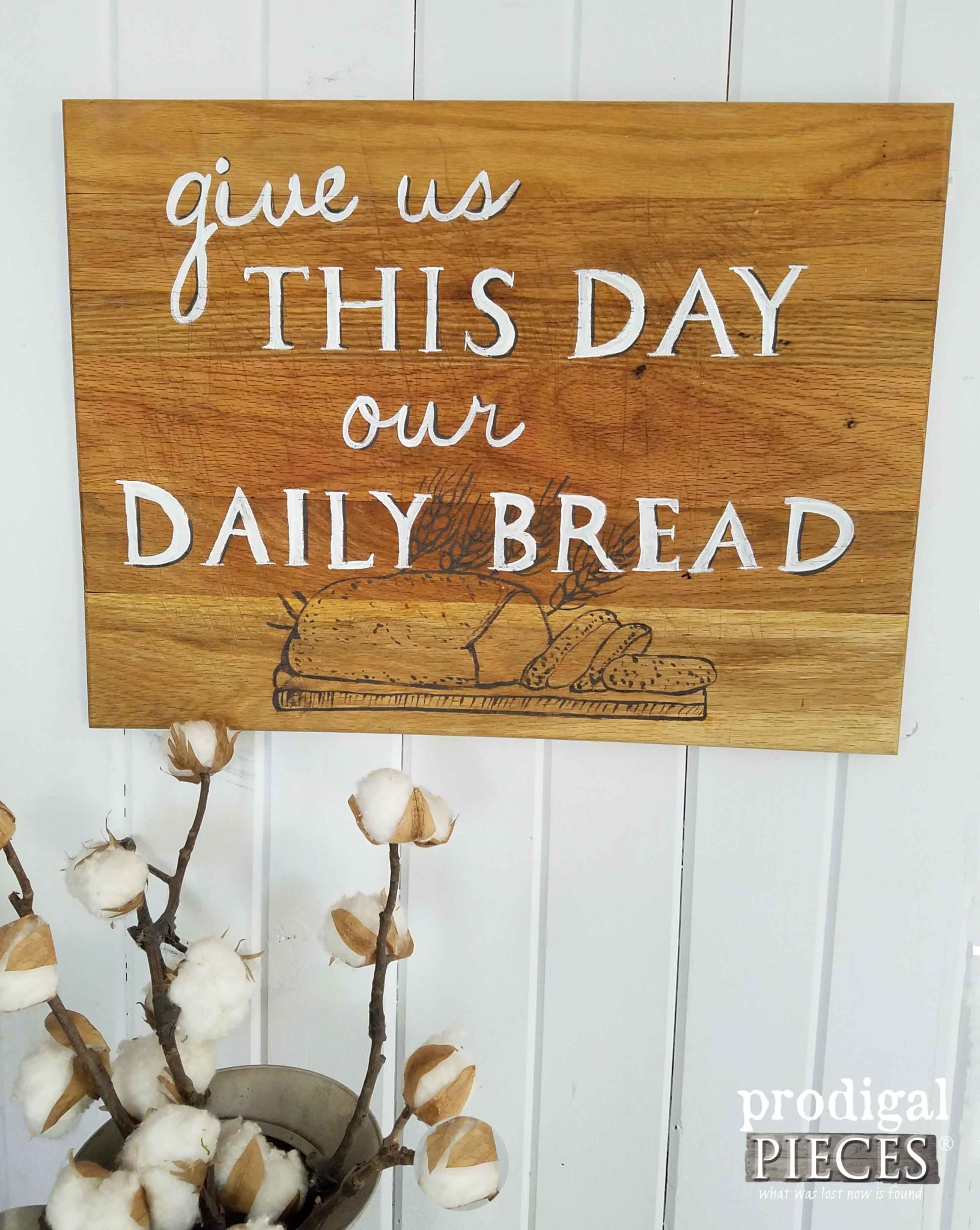 Cutting Board Wall Art ~ Give Us This Day our Daily Bread | prodigalpieces.com
