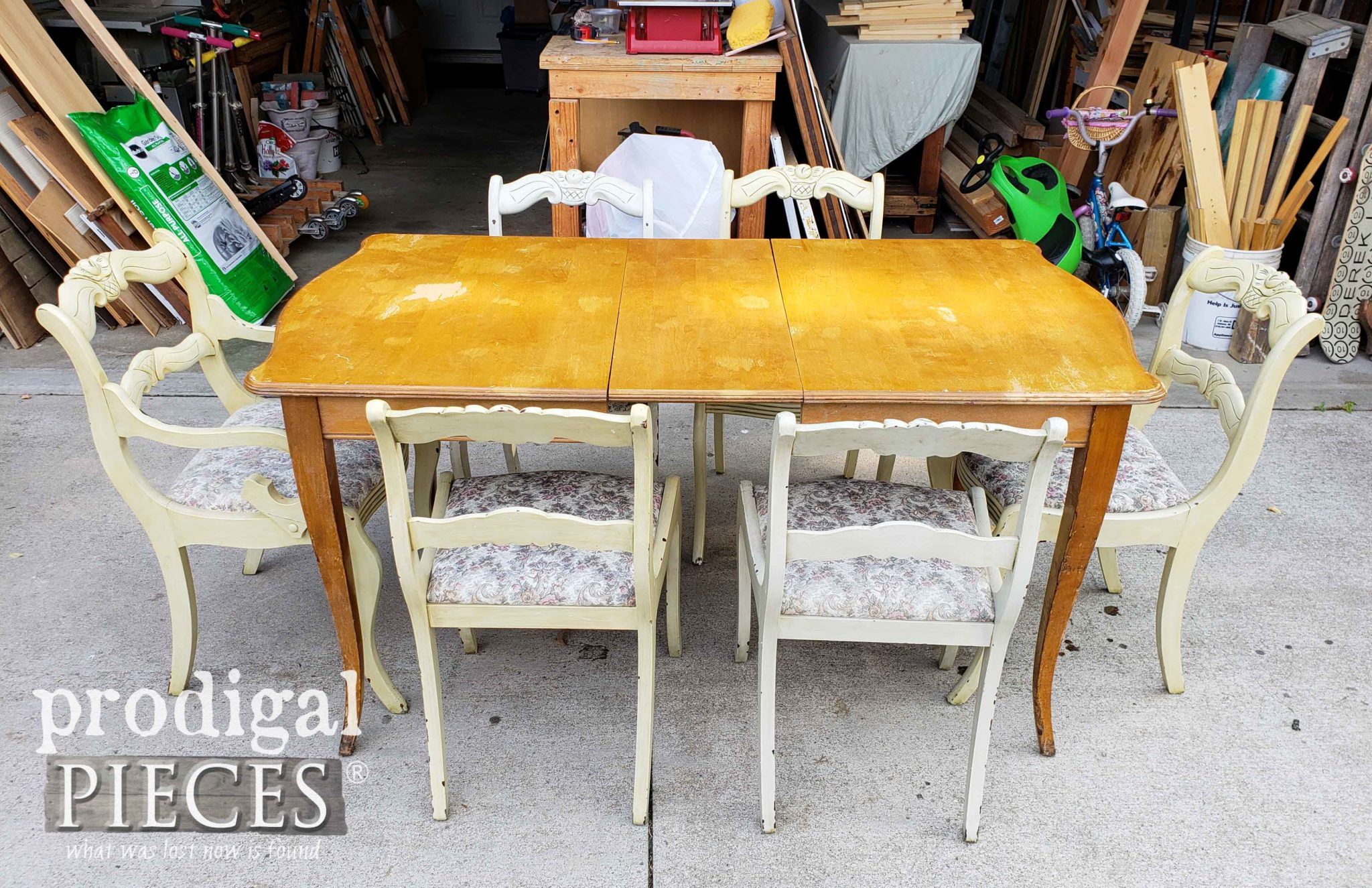 Vintage Dining Table Set Before Makeover by Prodigal Pieces | prodigalpieces.com