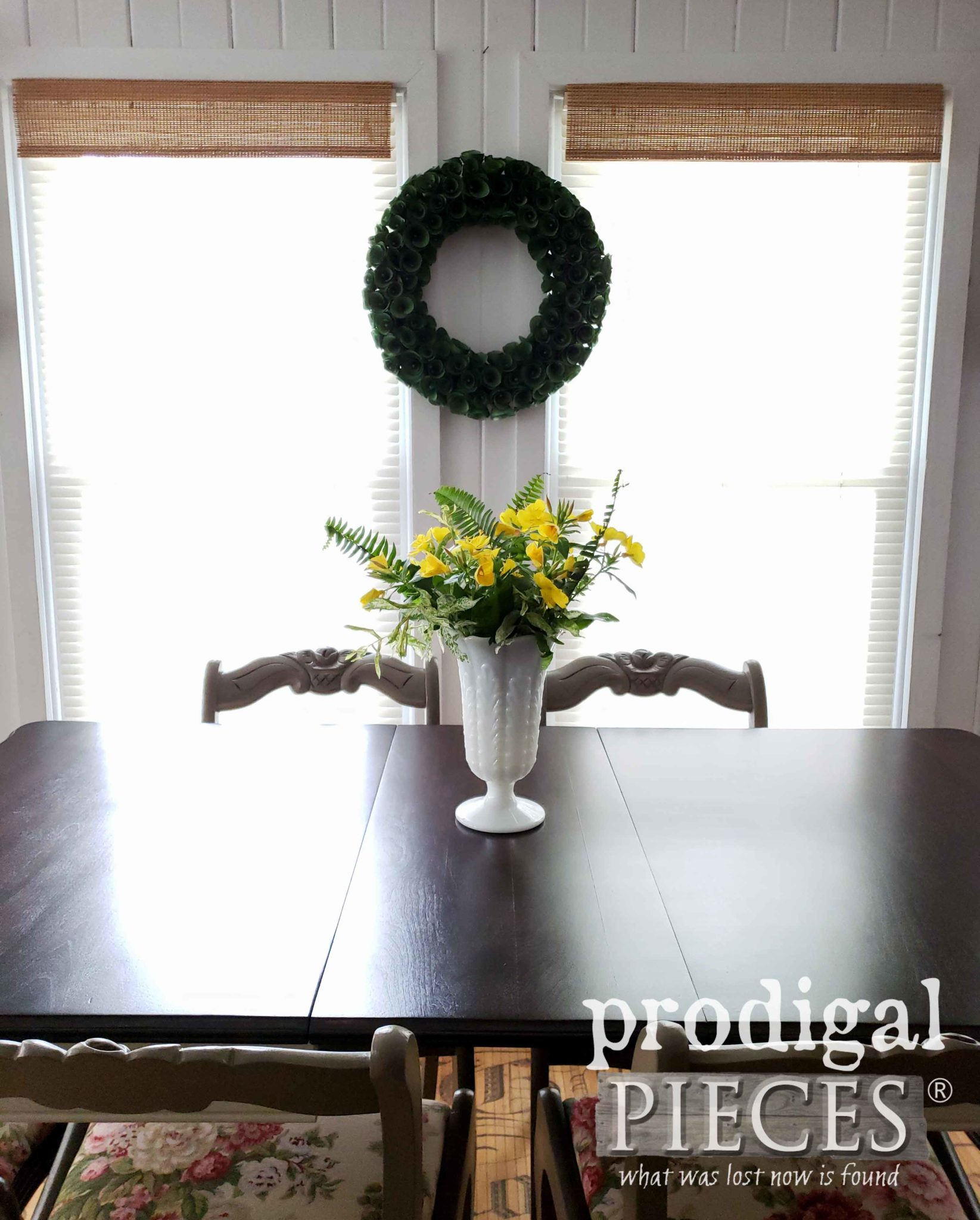 Country Style Vintage Dining Set with Java Stain Top by Prodigal Pieces | prodigalpieces.com