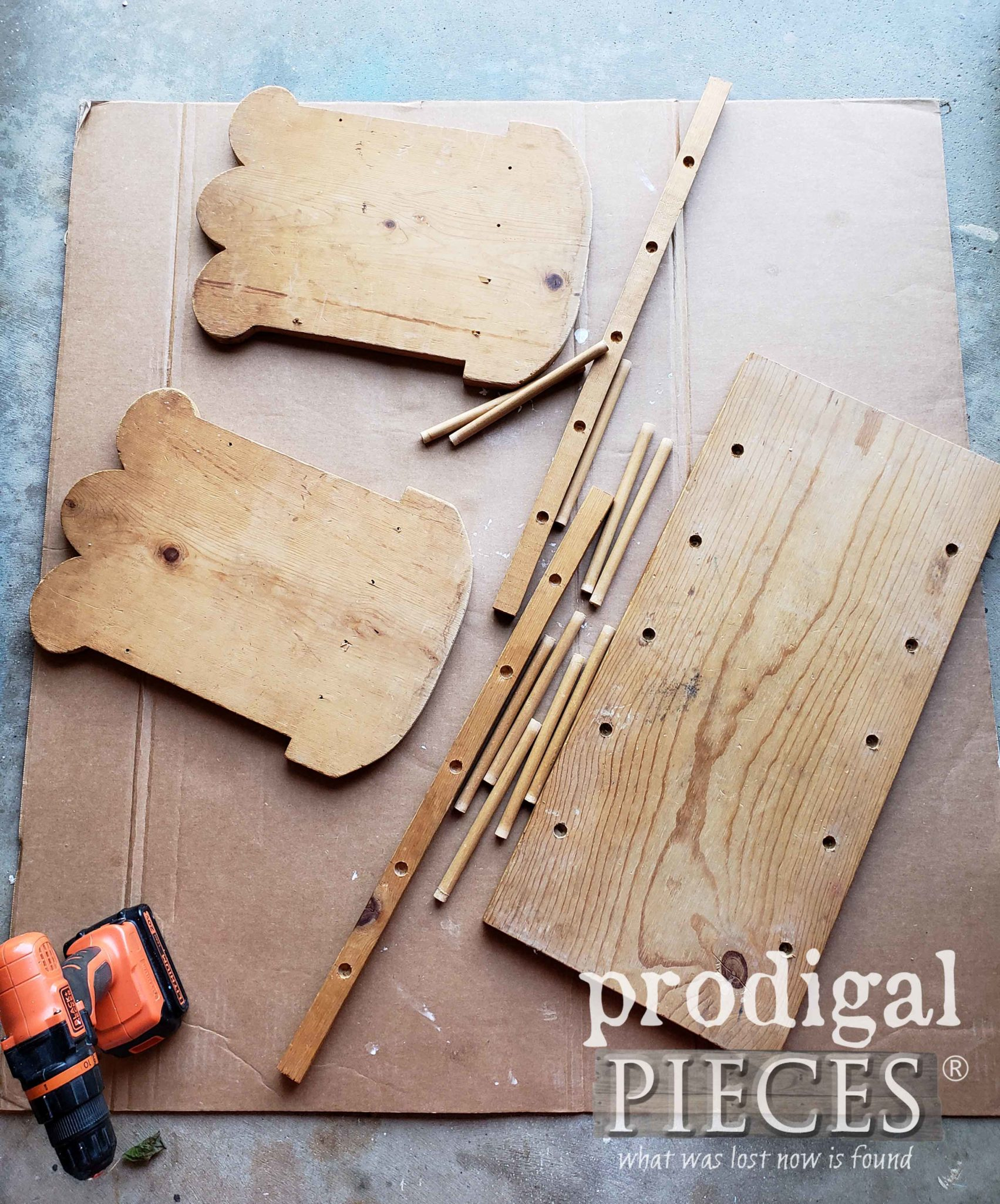 Disassembled Wooden Doll Cradle Made from Pine | prodigalpieces.com