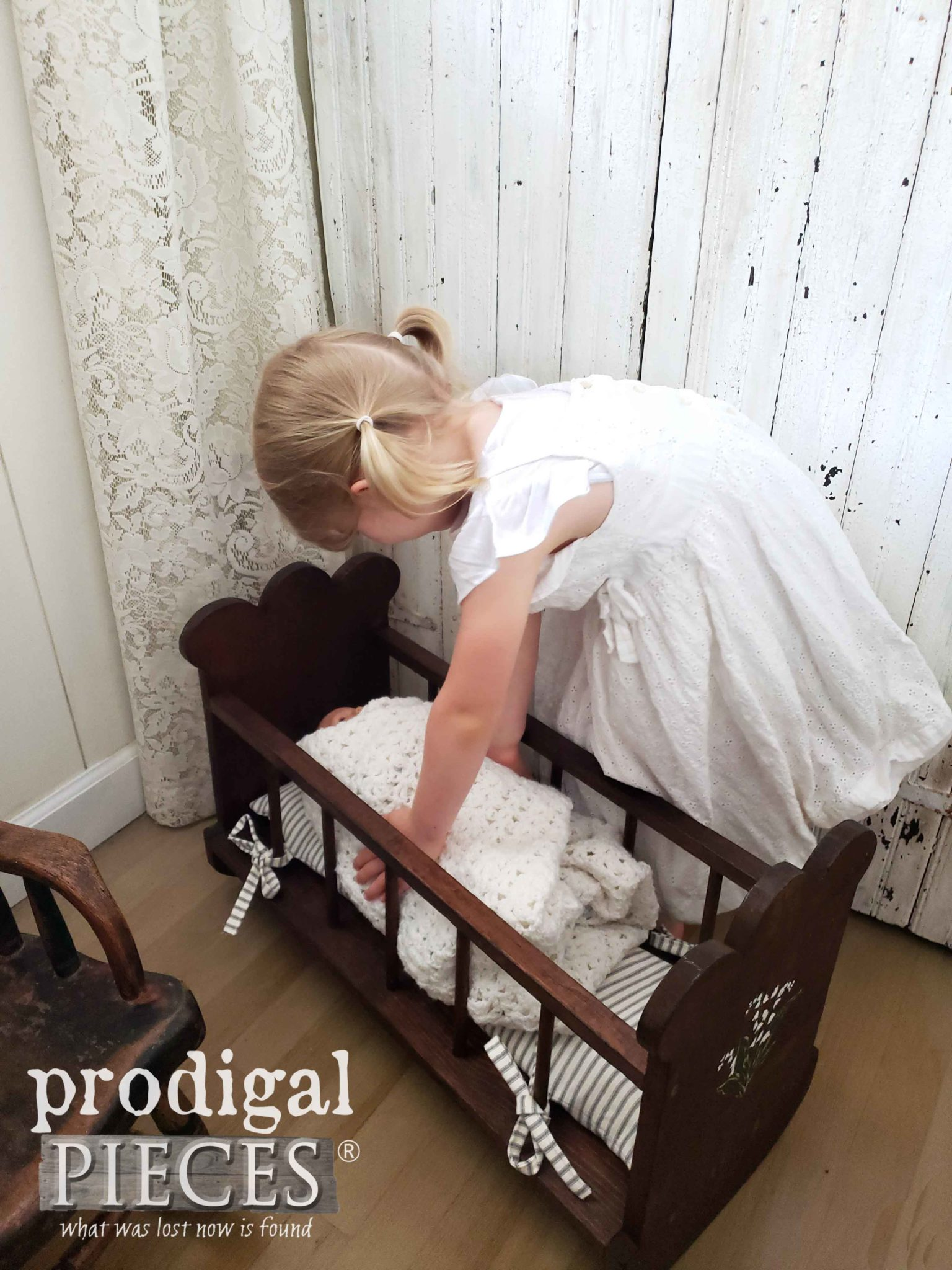 DIY Farmhouse Doll Cradle by Larissa of Prodigal Pieces | prodigalpieces.com