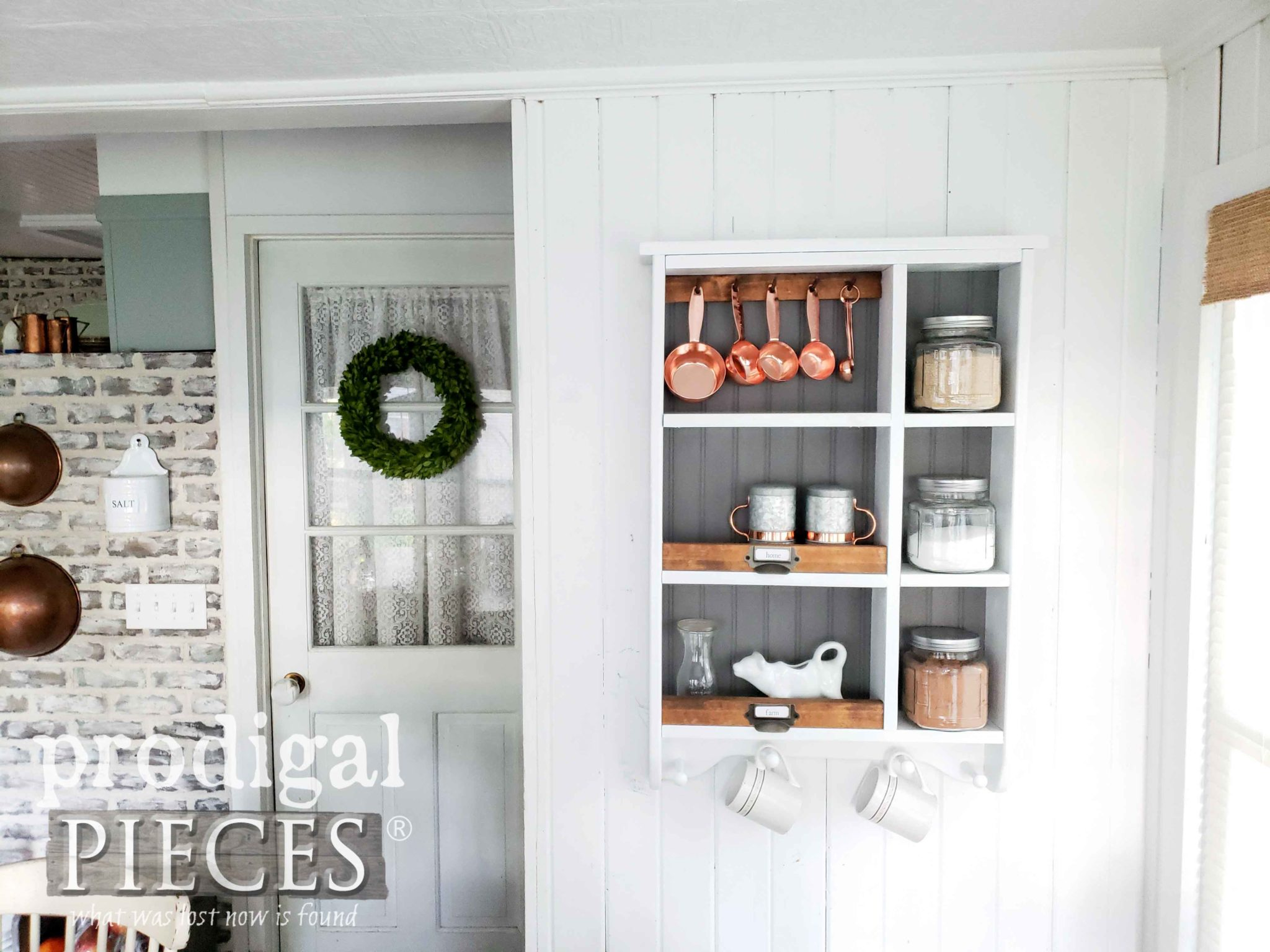 DIY Farmhouse Kitchen Storage Cubby from a Thrifted Find by Larissa of Prodigal Pieces | prodigalpieces.com
