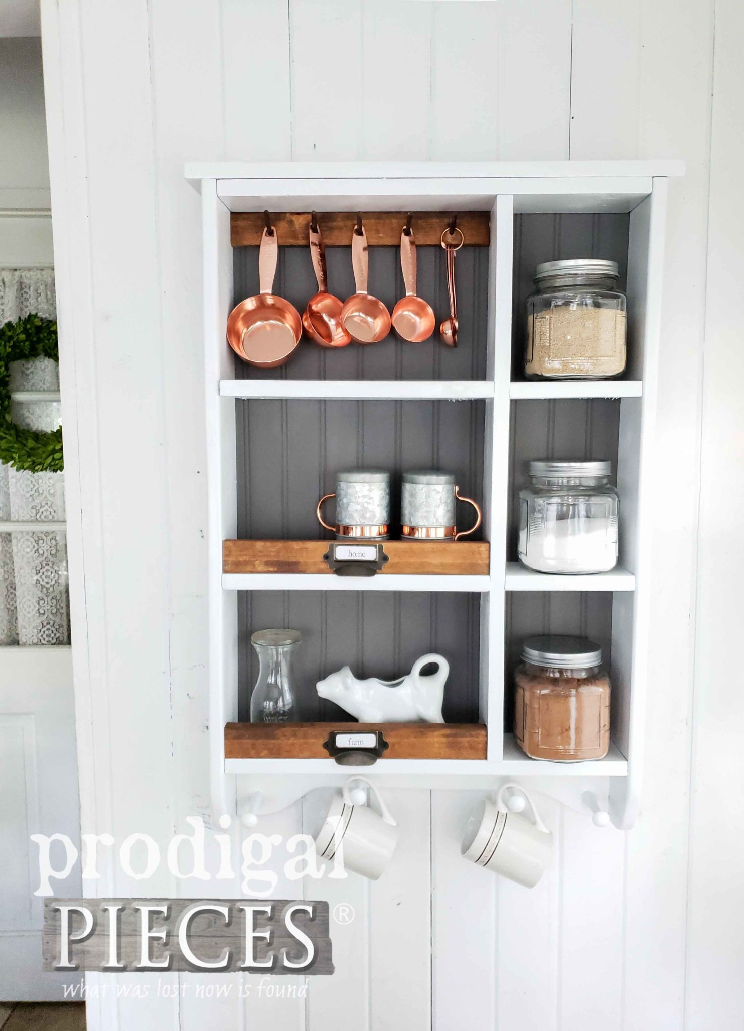 DIY Farmhouse Storage Cubby for Kitchen, Bath, Laundry and More | prodigalpieces.com