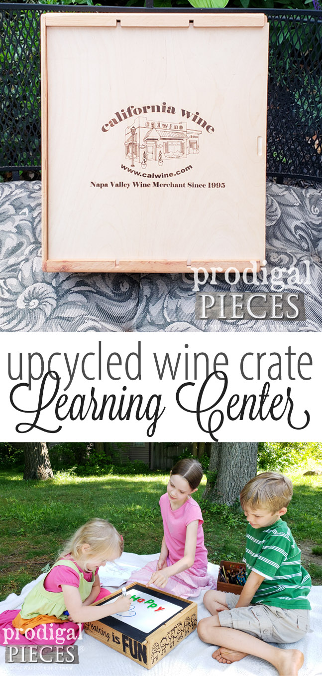How cute is this?! This upcycled wine crate was turned into a learning center complete with dry erase, chalkboard, magnetic fun and more! See the DIY at Prodigal Pieces | prodigalpieces.com