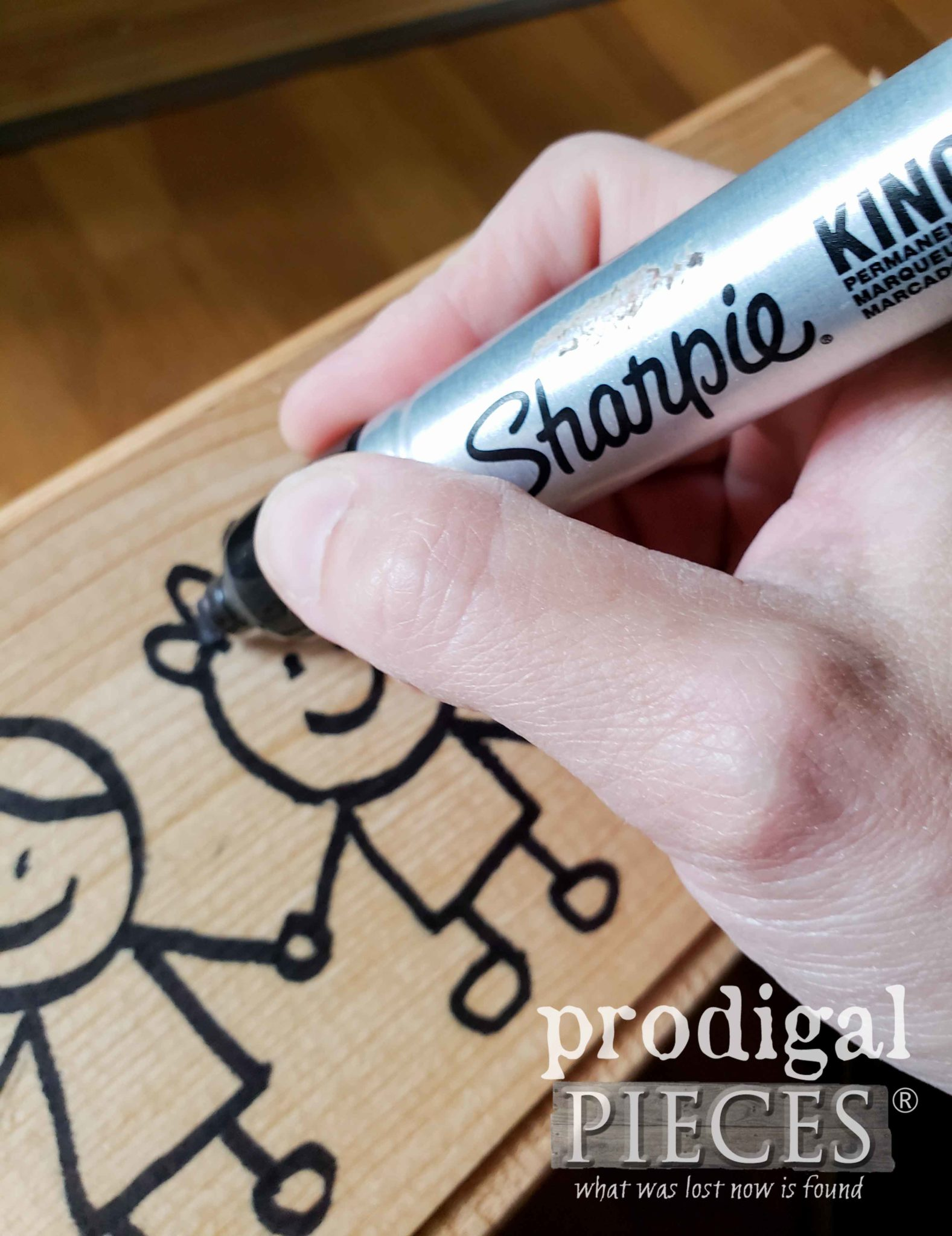 Drawing Stick Figures with Sharpie on DIY Learning Center by Larissa of Prodigal Pieces | prodigalpieces.com