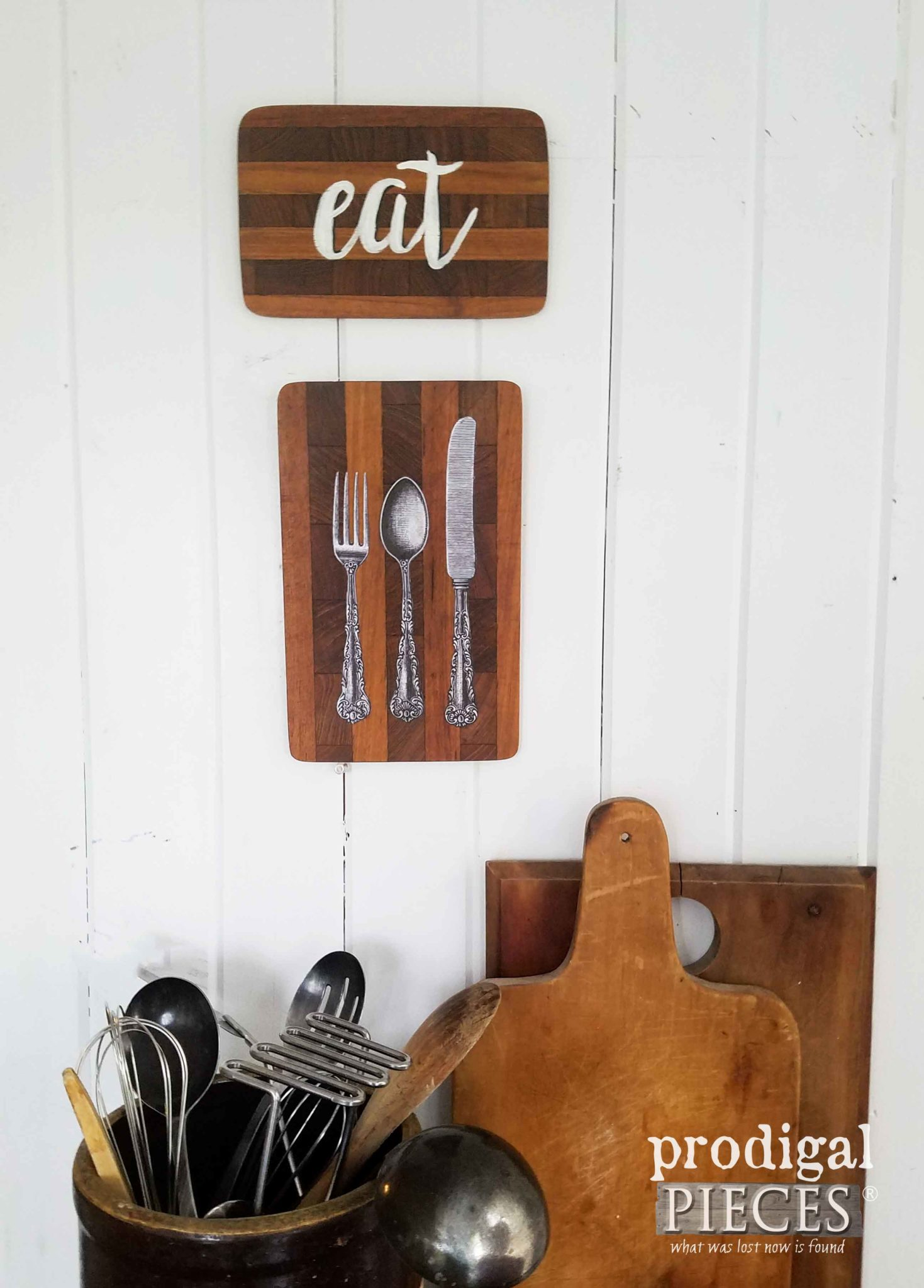 Let's Eat Repurposed Cutting Board Wall Art by Prodigal Pieces | prodigalpieces.com