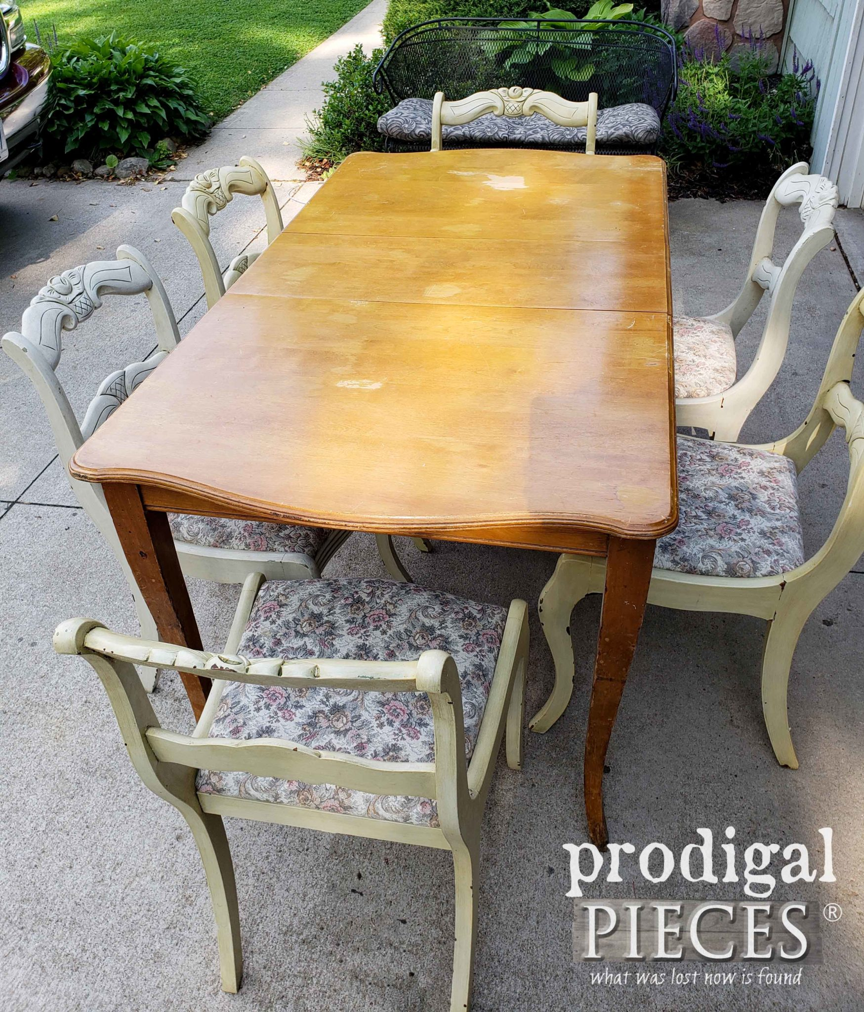 Vintage Extension Dining Table Before Makeover by Prodigal Pieces | prodigalpieces.com