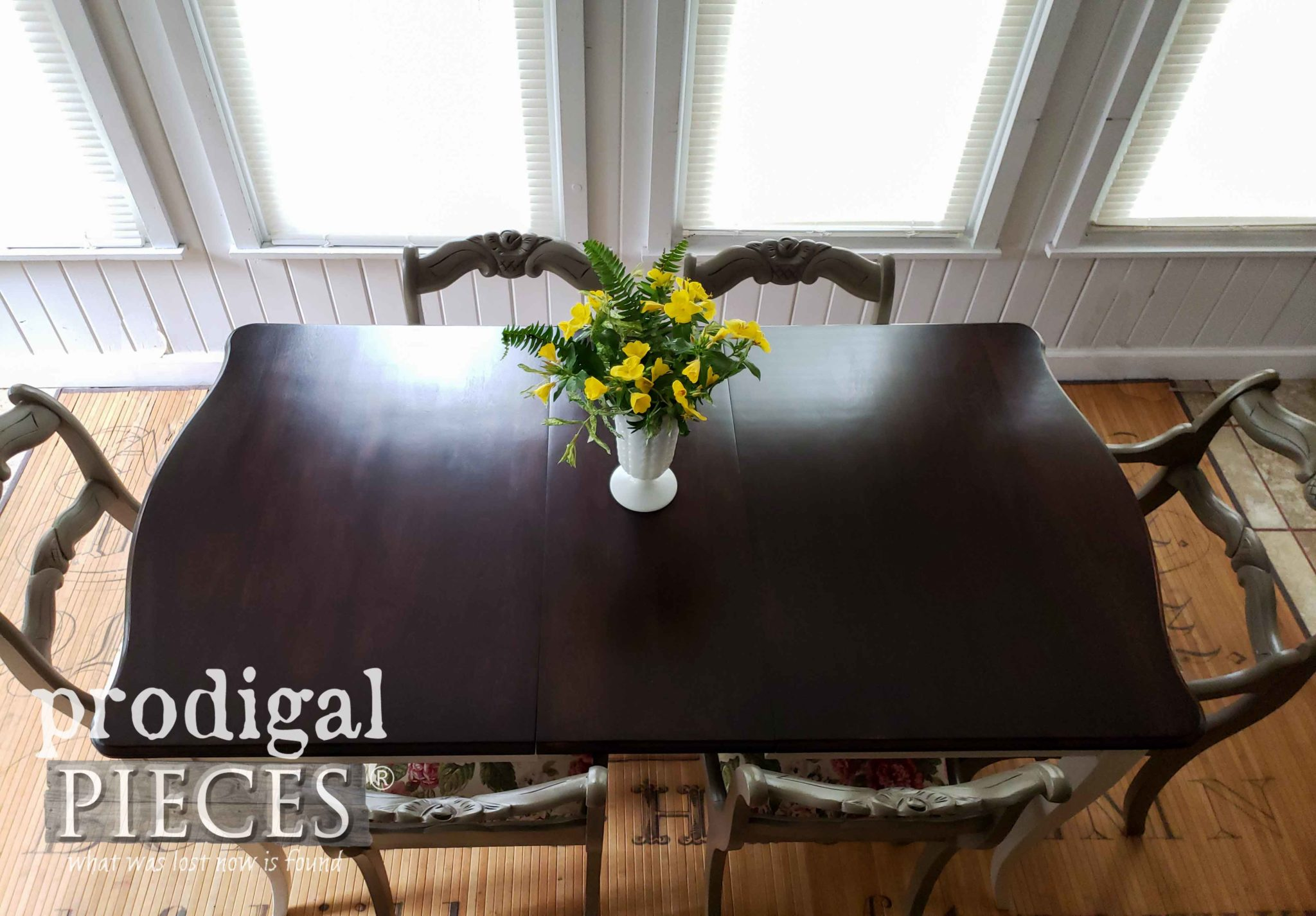 Mid Century Vintage Dining Table in General Finishes Java Gel Stain with Satin Topcoat by Larissa of Prodigal Pieces | prodigalpieces.com