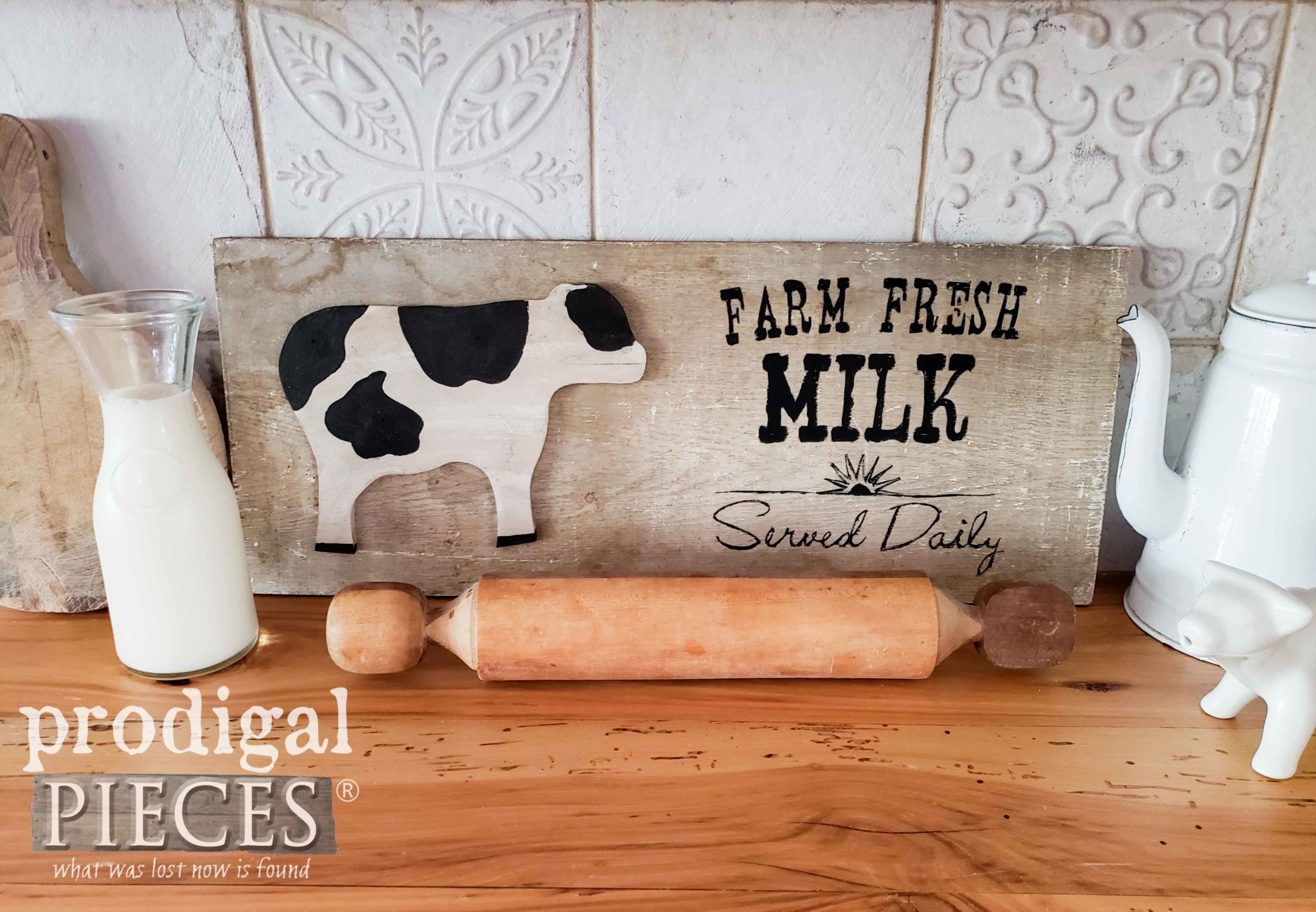 Reclaimed Wood Farm Fresh Milk Sign by Larissa of Prodigal Pieces using Repurposed Cutting Boards | prodigalpieces.com