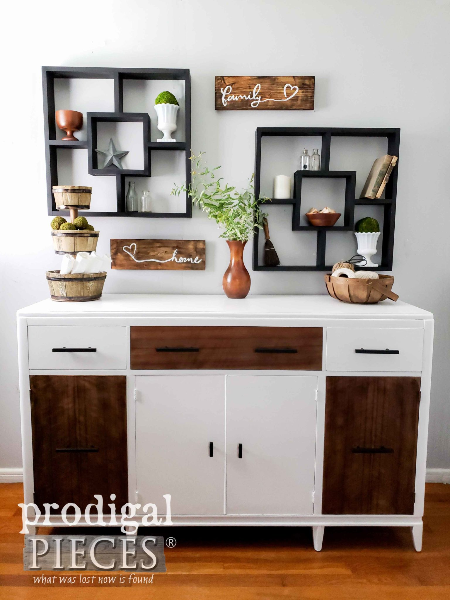 Modern Farmhouse Chic Buffet with White and Wood Tones by Larissa of Prodigal Pieces | prodigalpieces.com #prodigalpieces #homedecor #diy #shopping #furniture