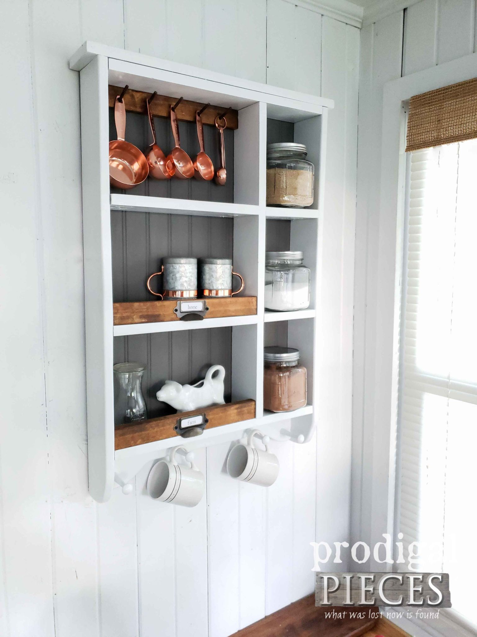 Modern Farmhouse Kitchen Storage Cubby with Plenty of Space to Store your Essentials by Larissa of Prodigal Pieces | prodigalpieces.com