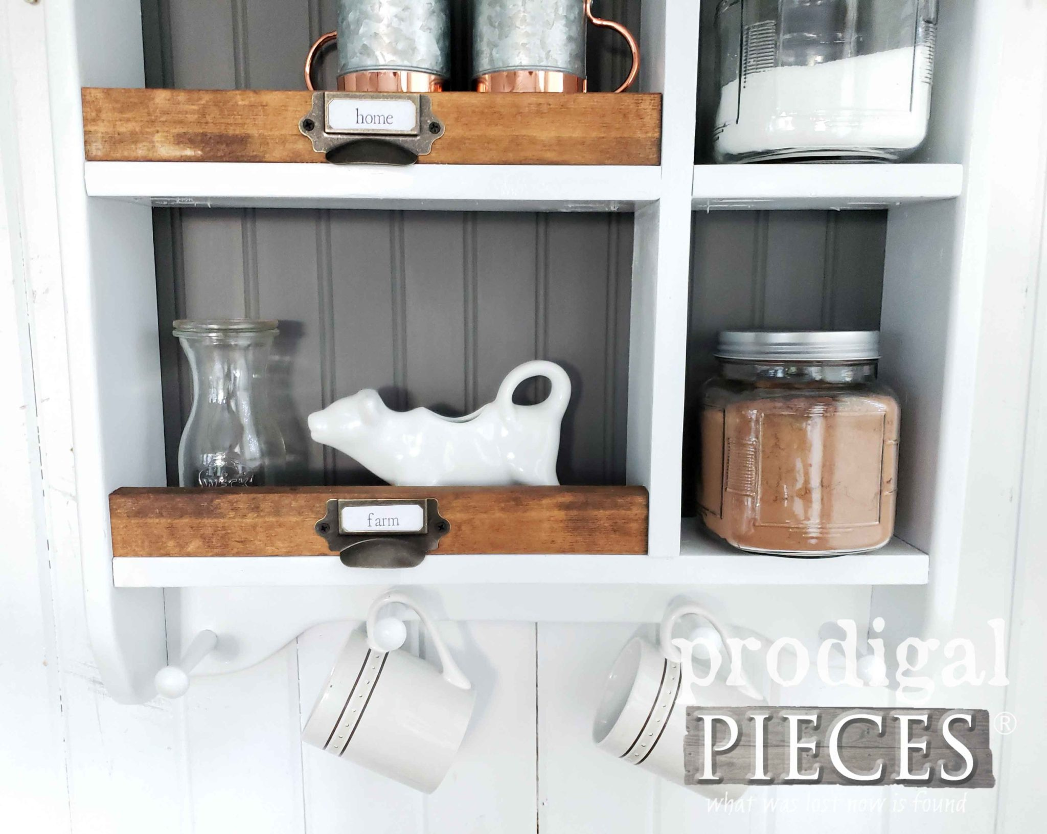 Modern Farmhouse Mug Rack Storage Cubby by Larissa of Prodigal Pieces | prodigalpieces.com