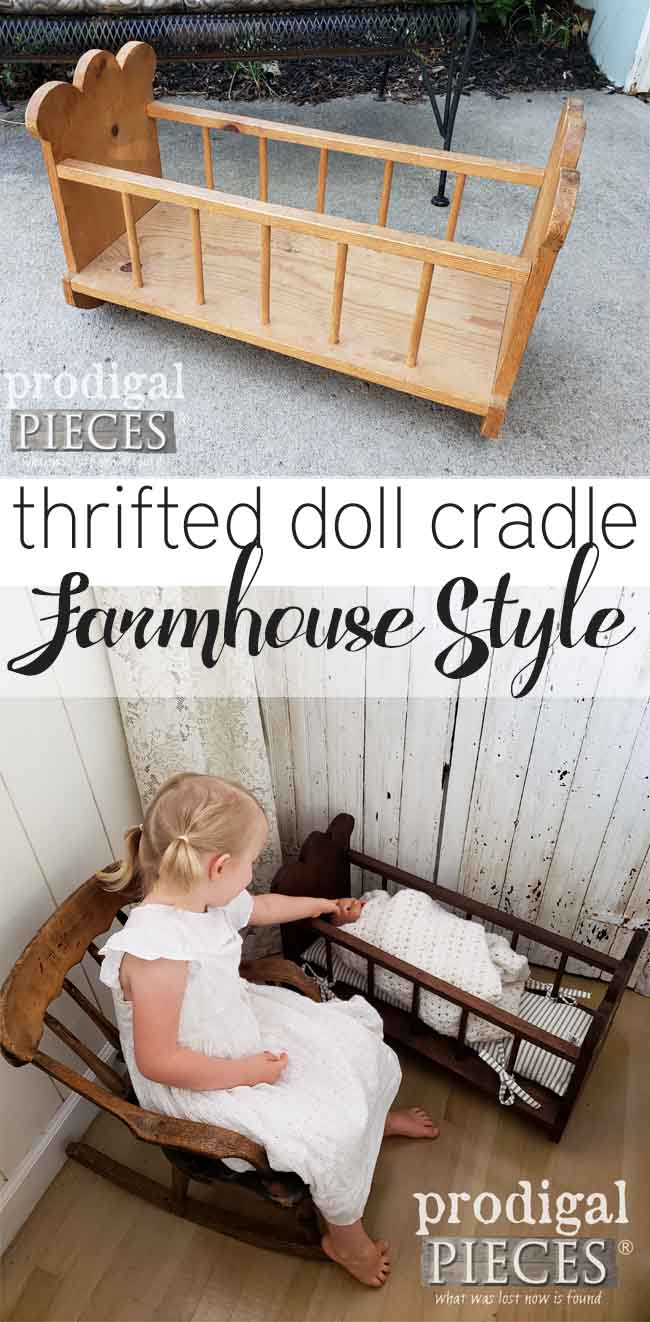 Looking for a fun way to get your kids involved in a DIY project? Head to the thrift store wood section. This wooden doll cradle got a Farmhouse Style makeover. Come see at Prodigal Pieces | prodigalpieces.com
