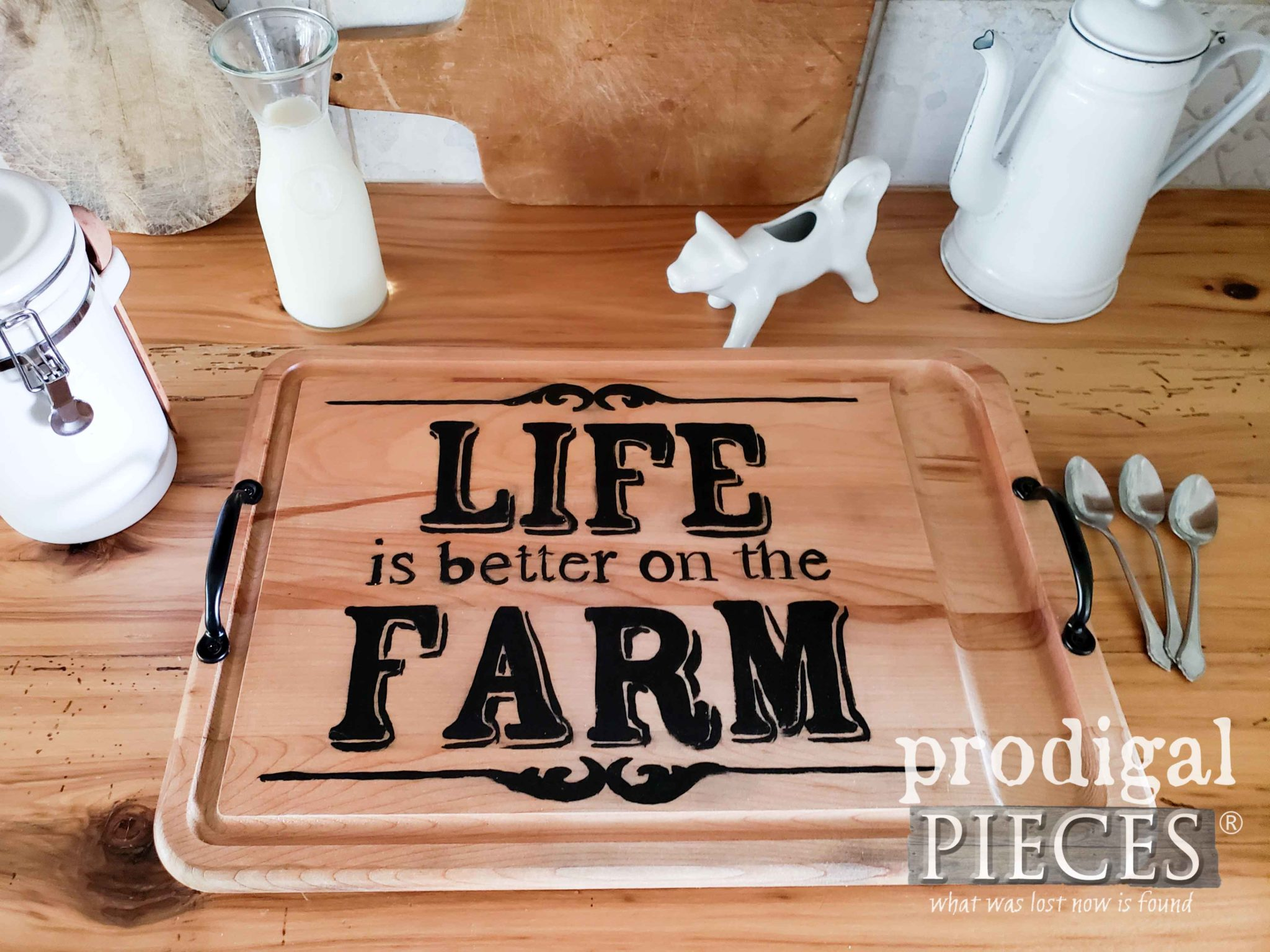 Rustic Farmhouse Style Footed Serving Tray made from a Repurposed Cutting Board by Larissa of Prodigal Pieces | prodigalpieces.com