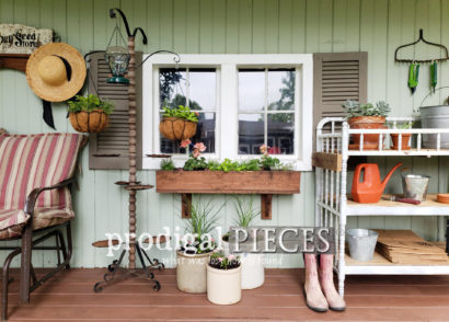 Featured Backyard Garden Shed Makeover and Update with Spring Decor by Larissa of Prodigal Pieces | prodigalpieces.com
