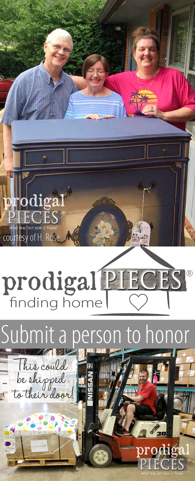 Do you know someone who deserves to be recognized for their selfless service or just needs a hug from their life's struggles? Nominate them for the Prodigal Pieces Finding Home Furniture Program. Details at prodigalpieces.com #prodigalpieces #findinghome