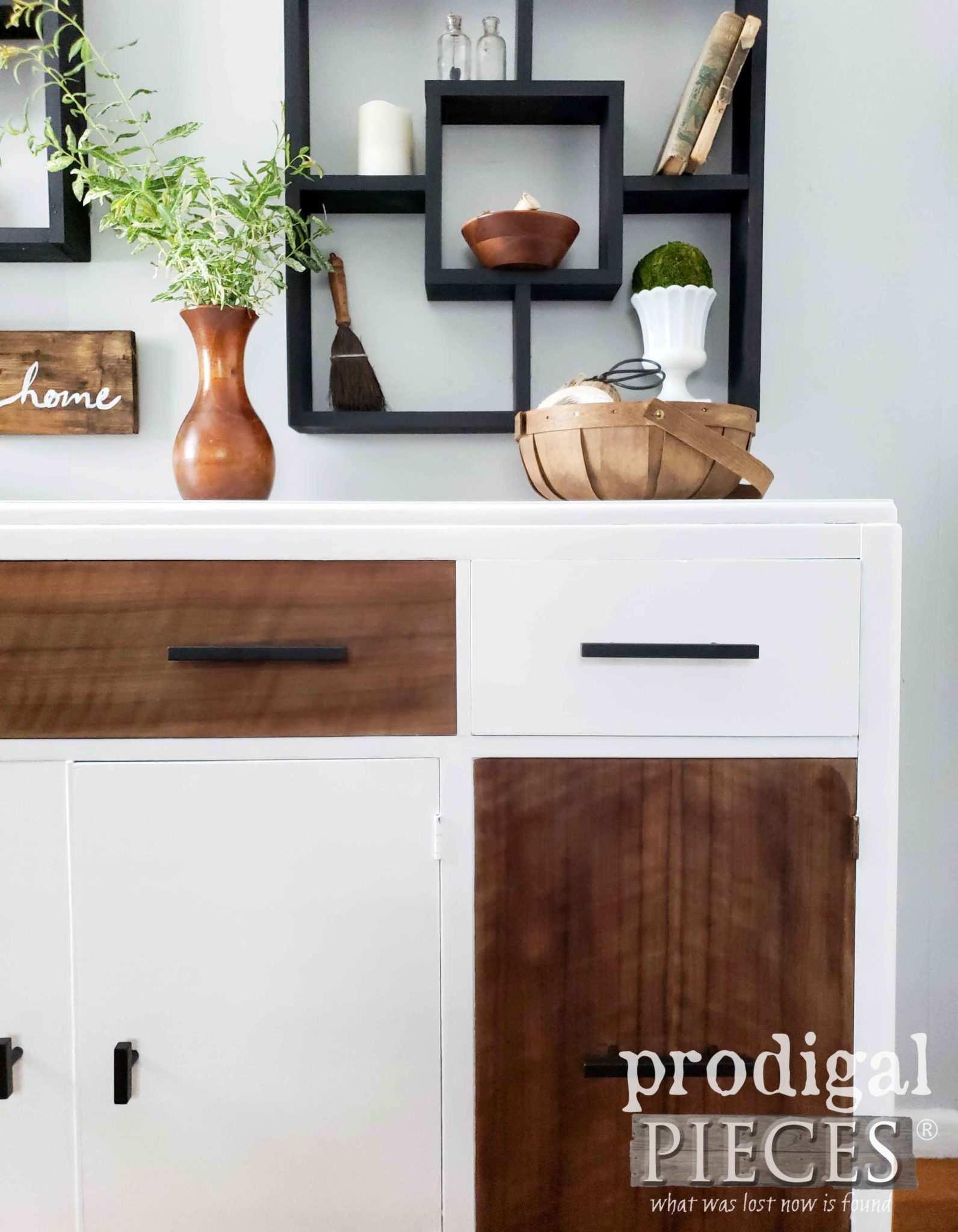 Flat Black Bar Drawer Pulls for Modern Farmhouse Furniture Makeover by Larissa of Prodigal Pieces | prodigalpieces.com