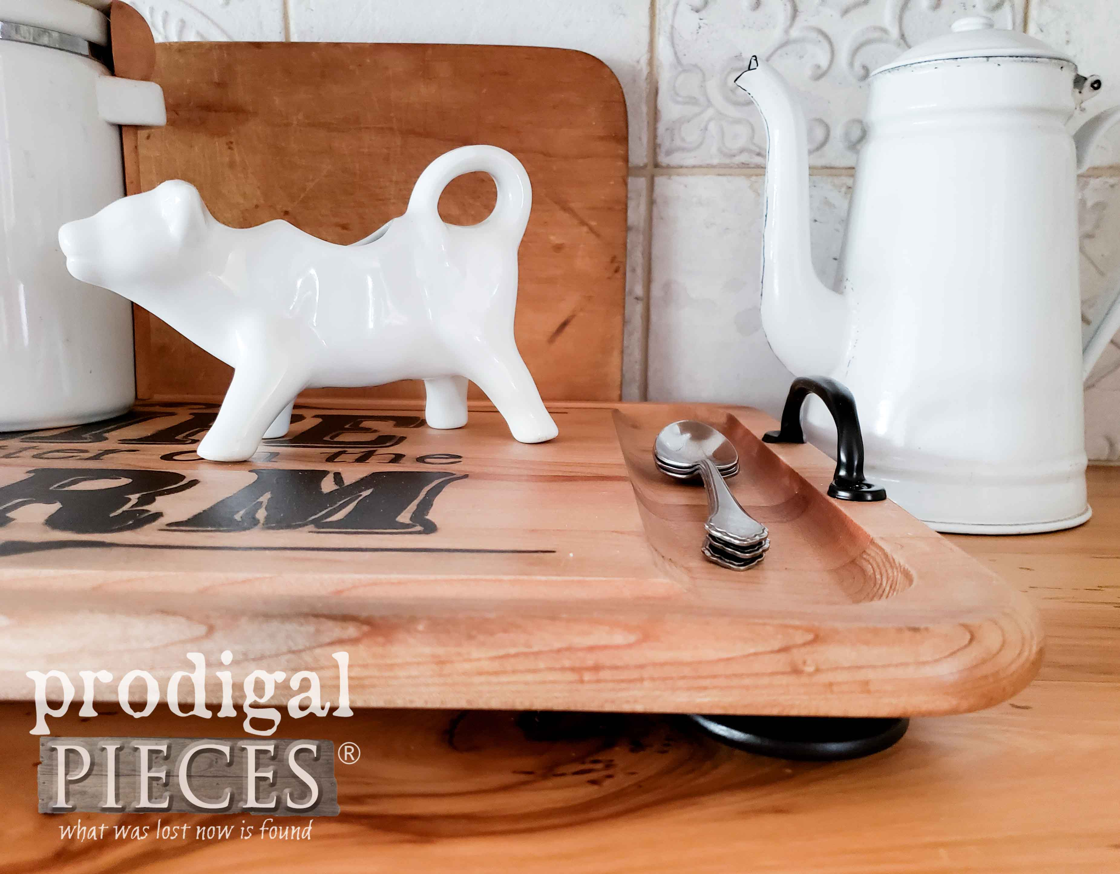 Footed Wooden Serving Tray made from Repurposed Cutting Boards | Farmhouse Style Decor by Larissa of Prodigal Pieces | prodigalpieces.com