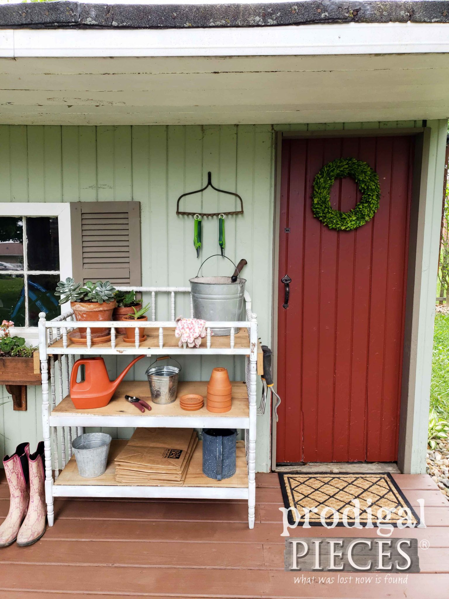 Garden Shed Door with Boxwood Wreath and Upcycled Changing Table Potting Bench by Larissa of Prodigal Pieces | prodigalpieces.com