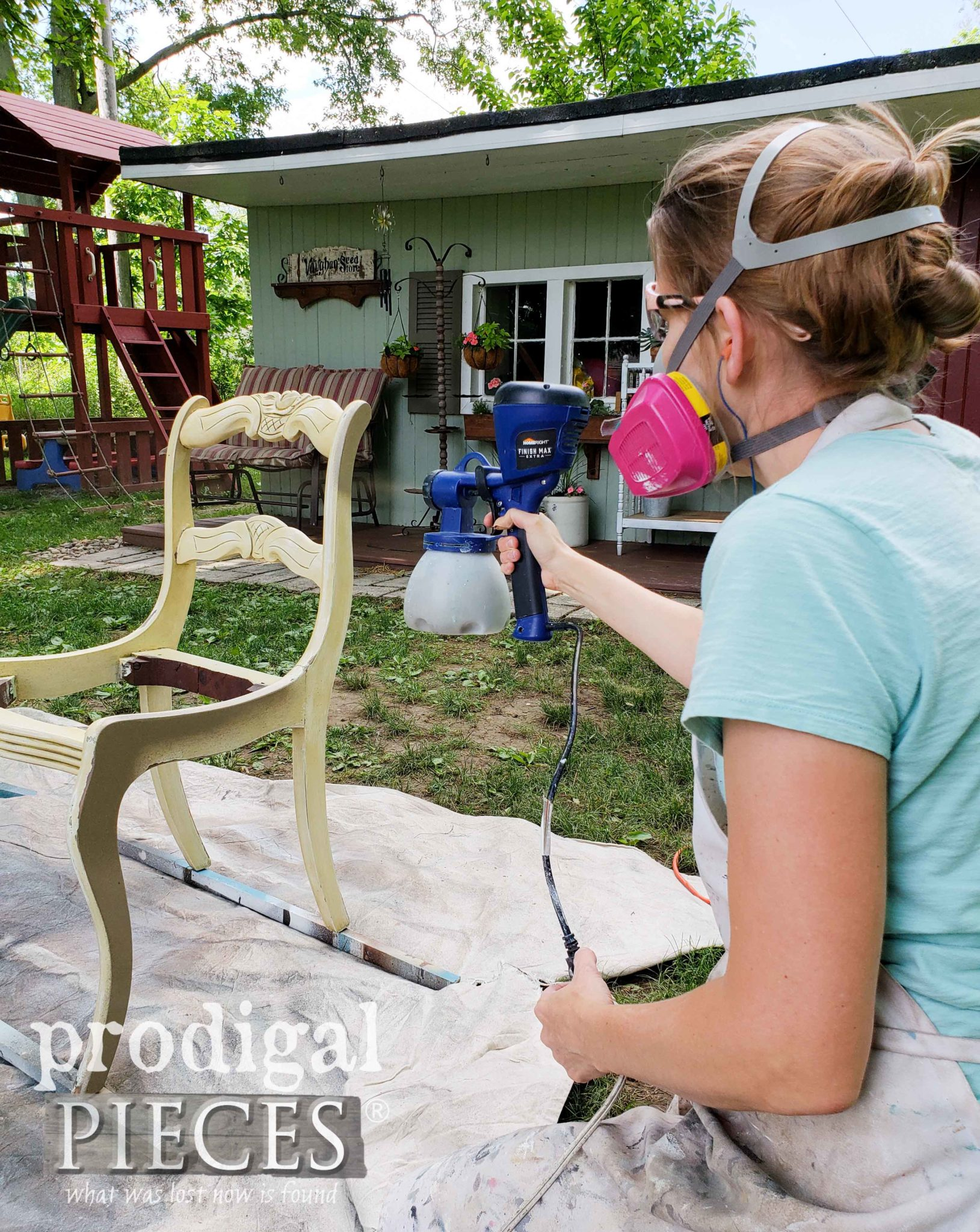 HomeRight Super Finish Max Extra to easily paint dining chairs by Larissa of Prodigal Pieces | prodigalpieces.com