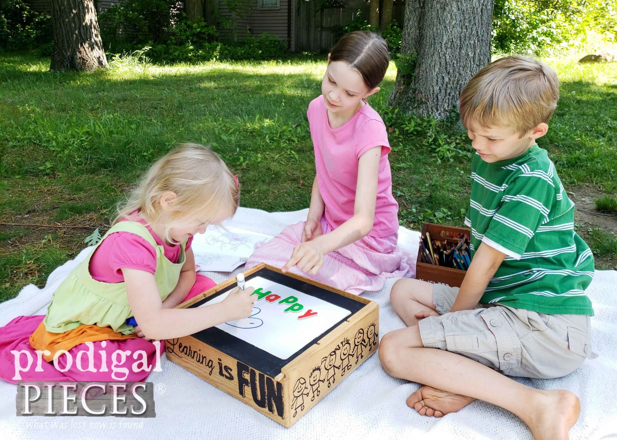 Kids DIY Learning Center from a Repurposed Wine Crate by Larissa of Prodigal Pieces | prodigalpieces.com