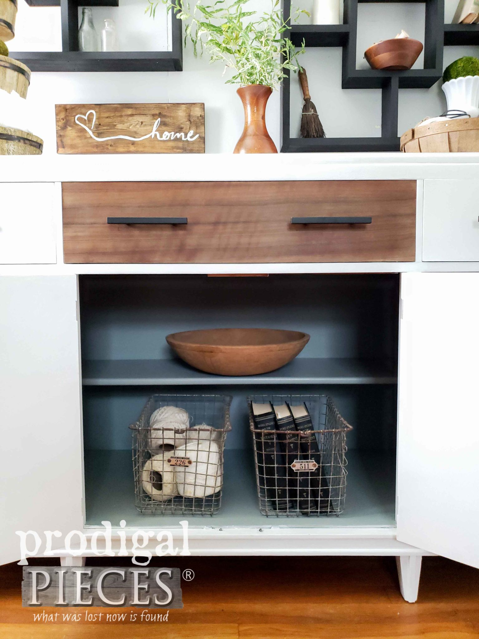 Modern Farmhouse Buffet with Painted Interior by Larissa of Prodigal Pieces | prodigalpieces.com