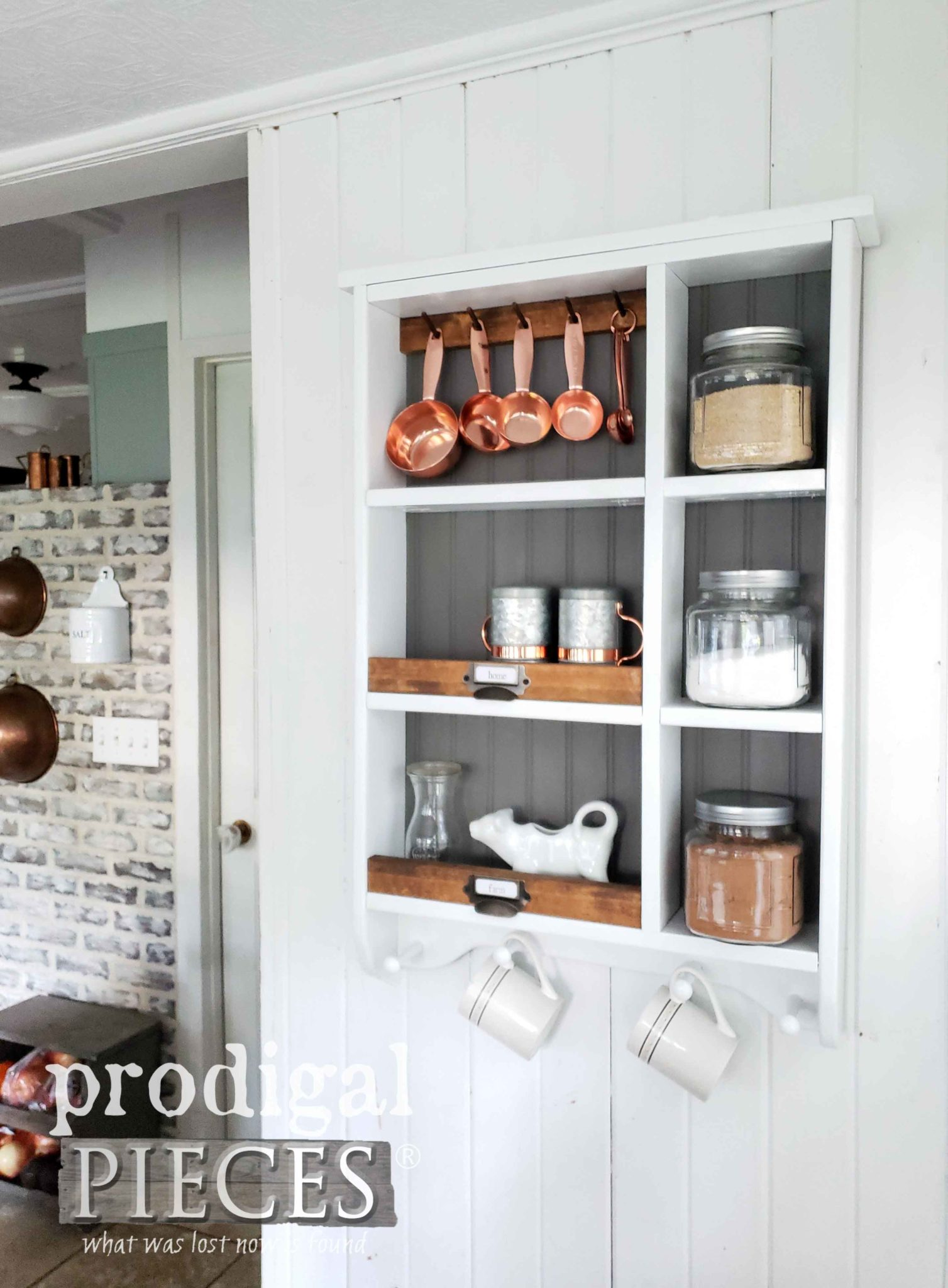 Rustic Chic Modern Farmhouse Style Kitchen with DIY Storage Cubby by Larissa of Prodigal Pieces | prodigalpieces.com