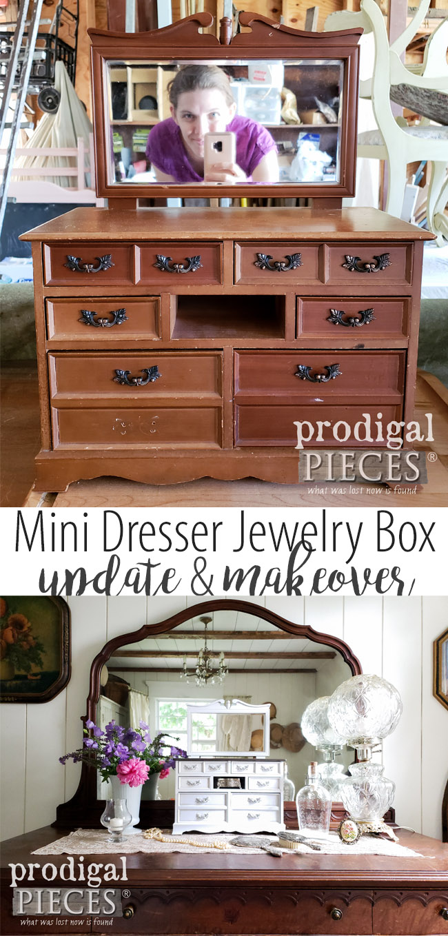 How cute!! This musical jewelry box mini dresser got a fresh new look with DIY fun. Come see the details at Prodigal Pieces | prodigalpieces.com