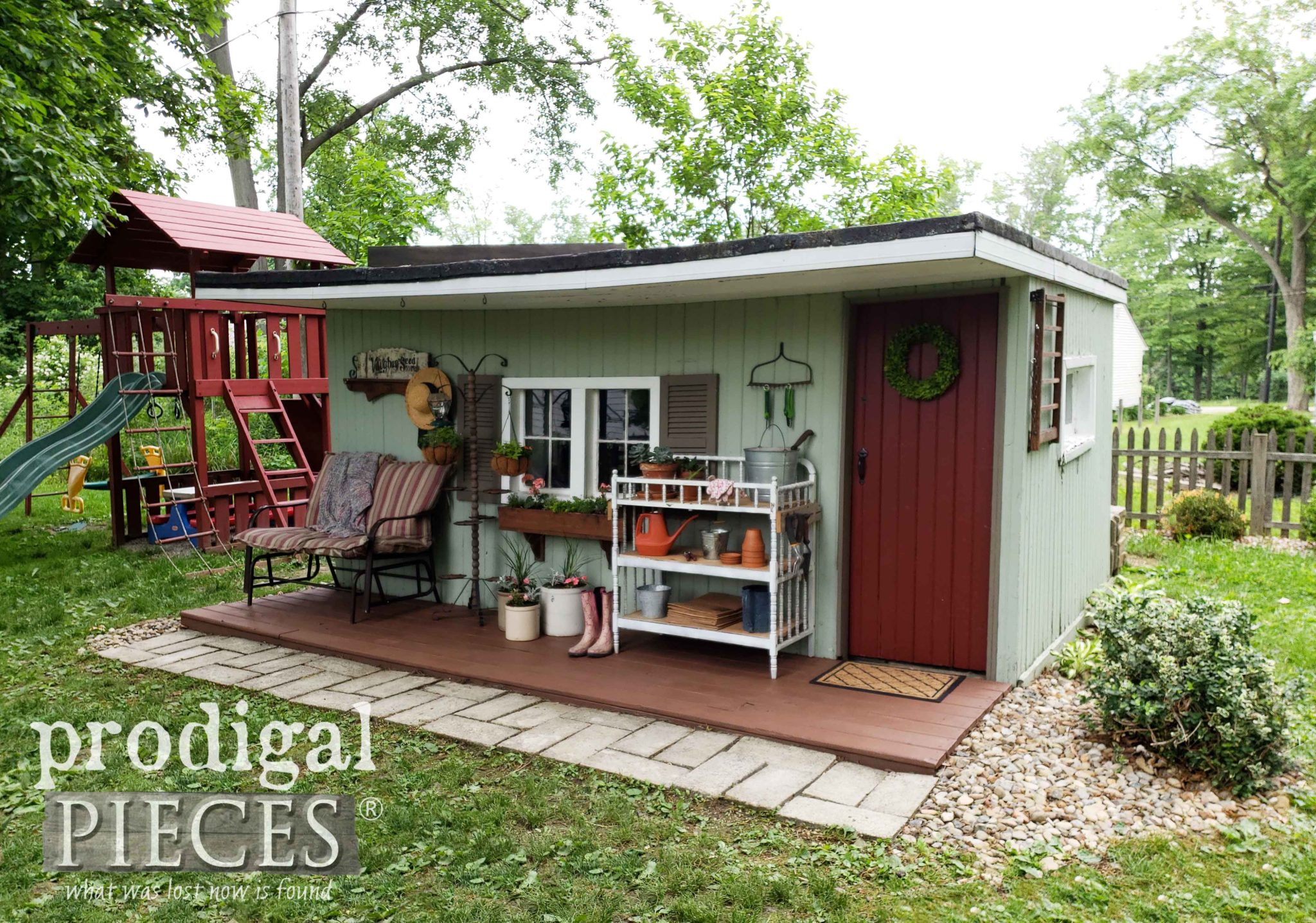 Outdoor Garden Shed Updated and Refreshed with Upcycled Spring Decor by Larissa of Prodigal Pieces | prodigalpieces.com