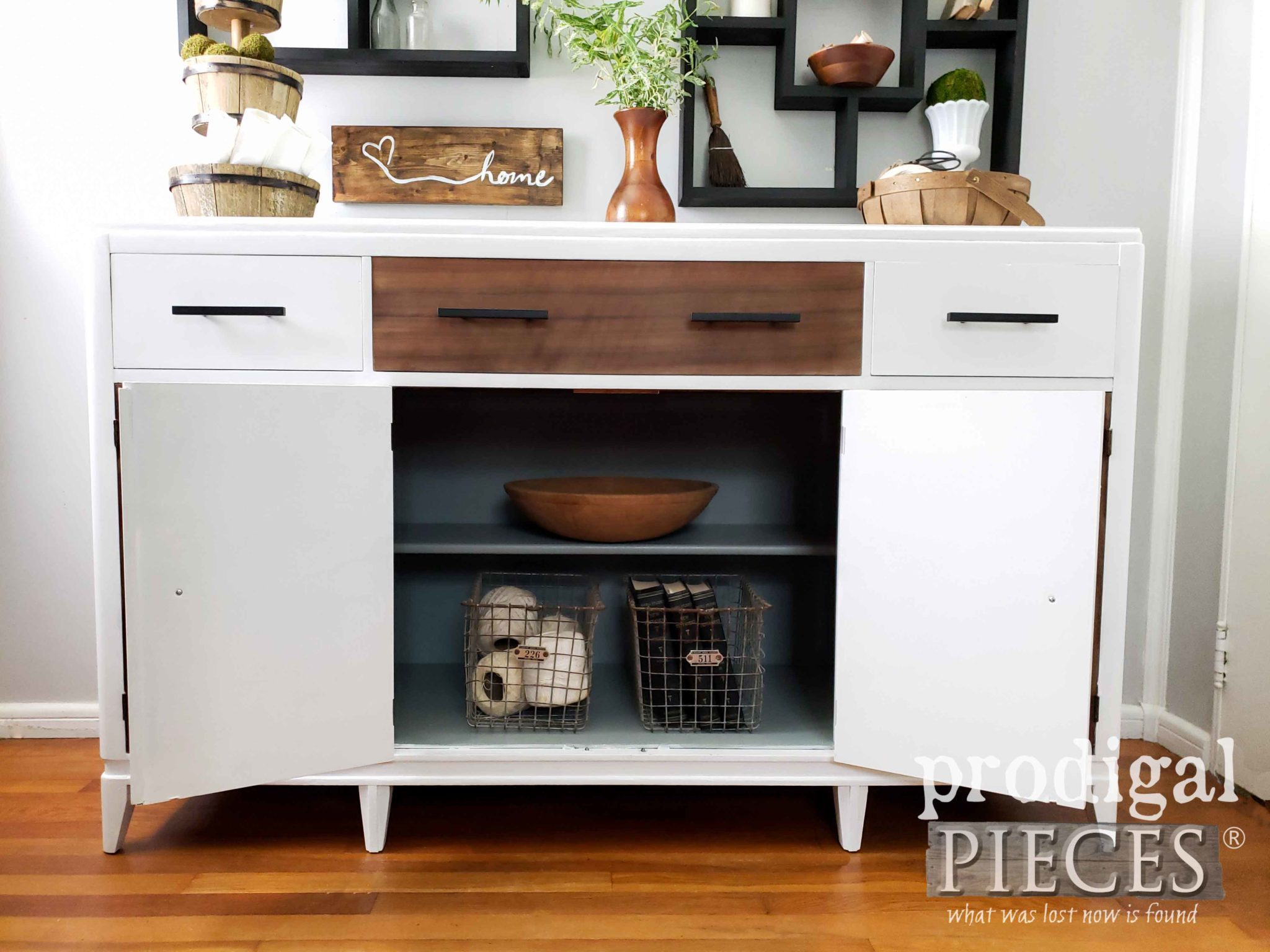 Painted Buffet Interior for a pop of color by Larissa of Prodigal Pieces | prodigalpieces.com